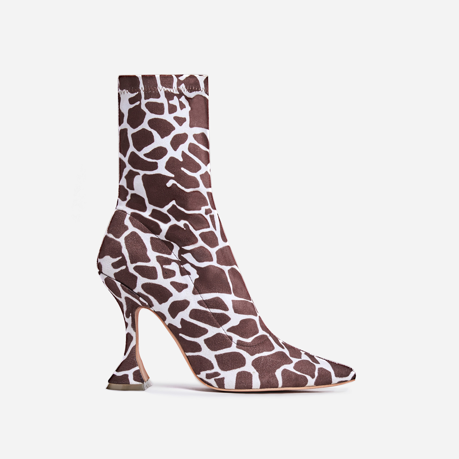 Flore Pyramid Heel Ankle Boot In Giraffe Print Faux Suede