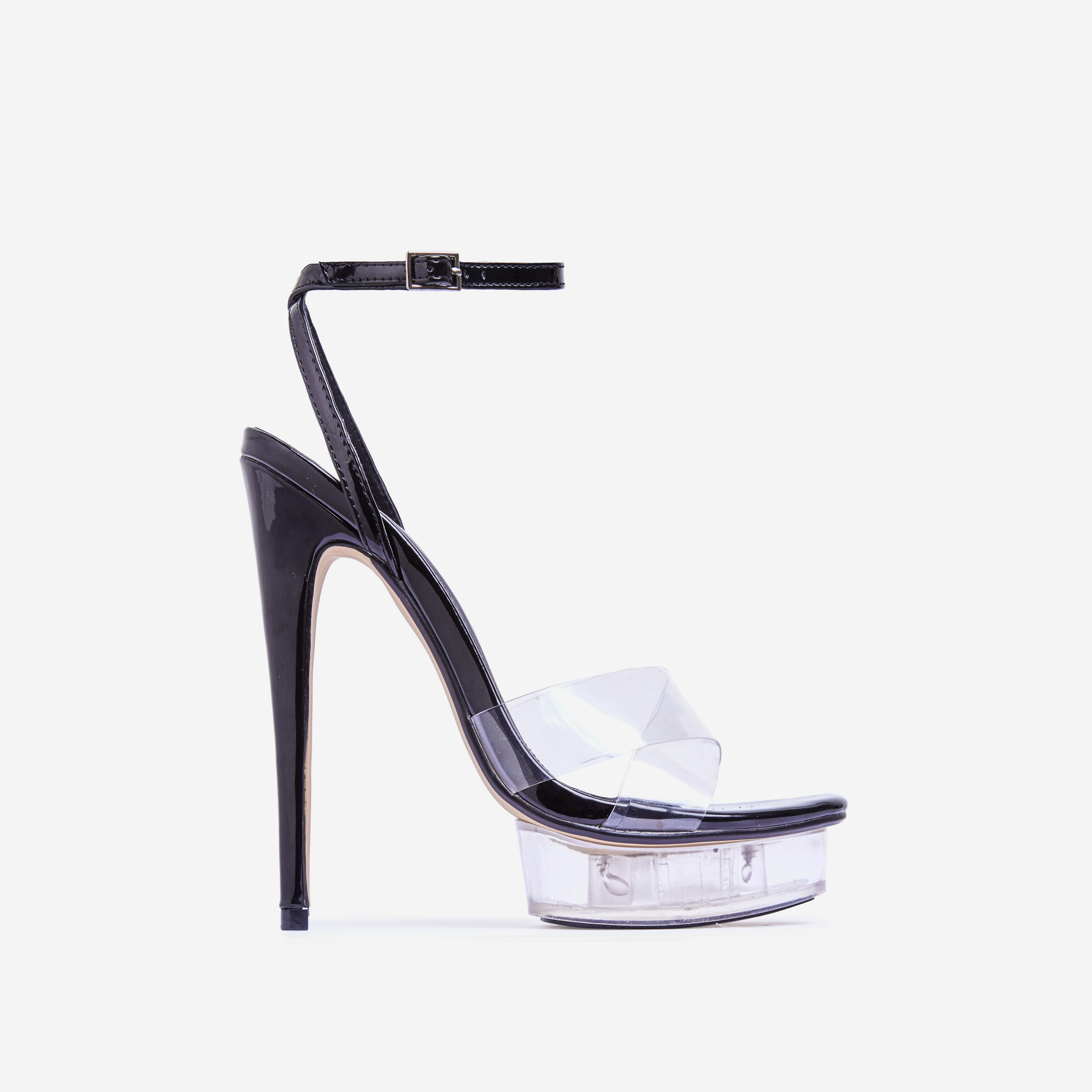 Smoking Barely There Perspex Platform Heel In Black Patent
