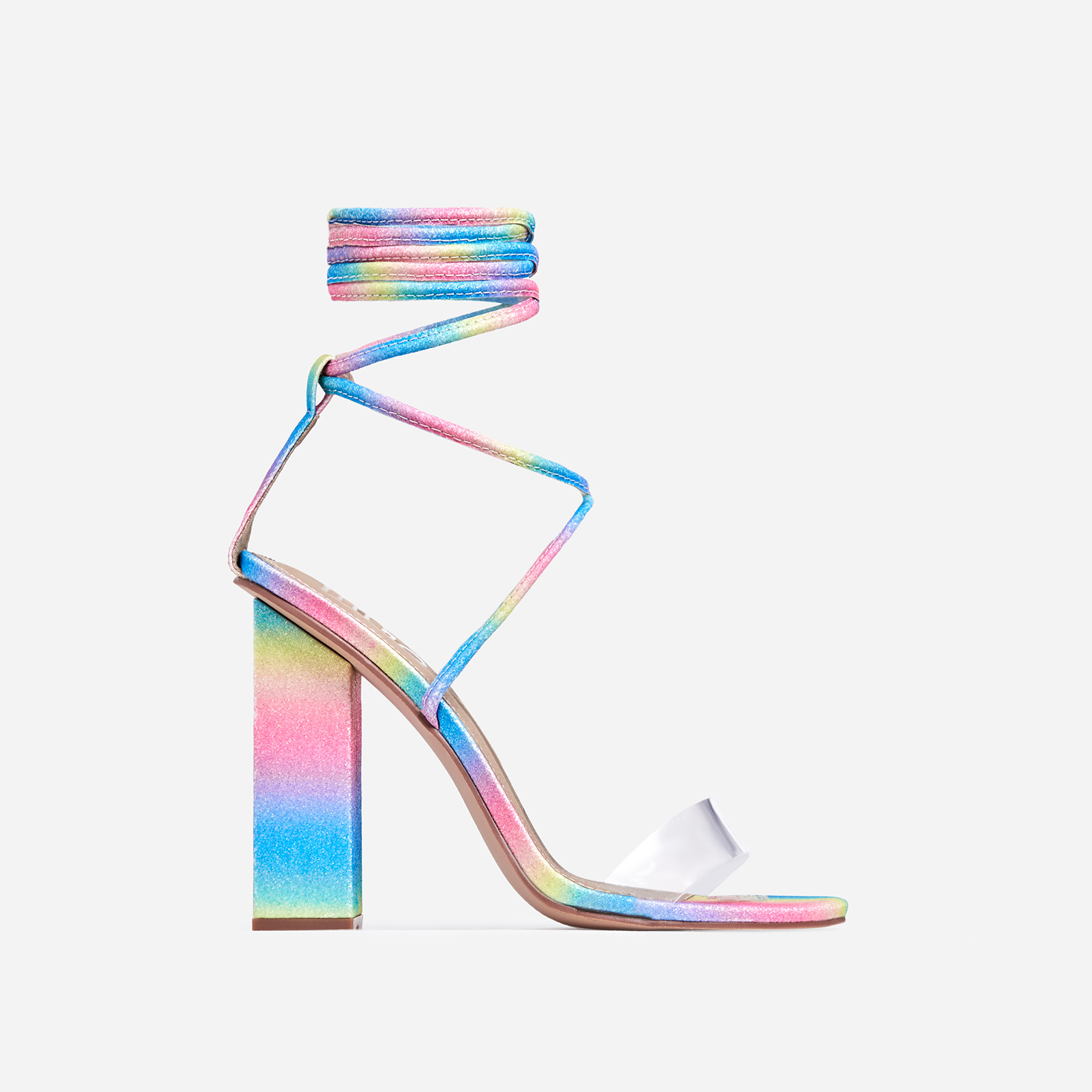 Bello Perspex Lace Up Block Heel In Rainbow Glitter