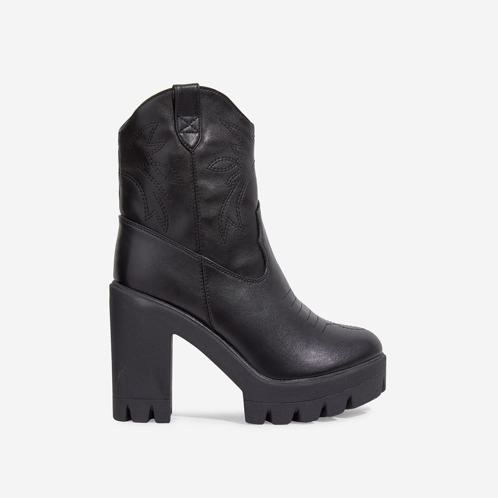 Chill Platform Chunky Sole Western Boot In Black Faux Leather