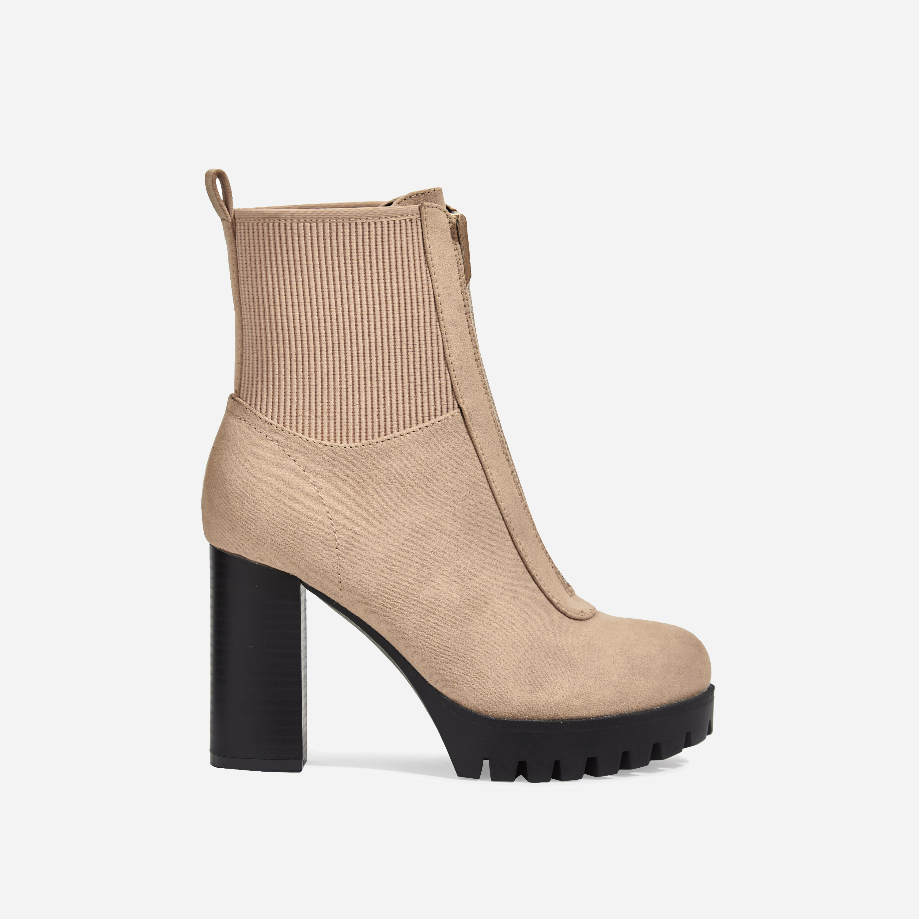 Healey Platform Zip Detail Cleated Sole Ankle Sock Boot In Nude Faux Suede