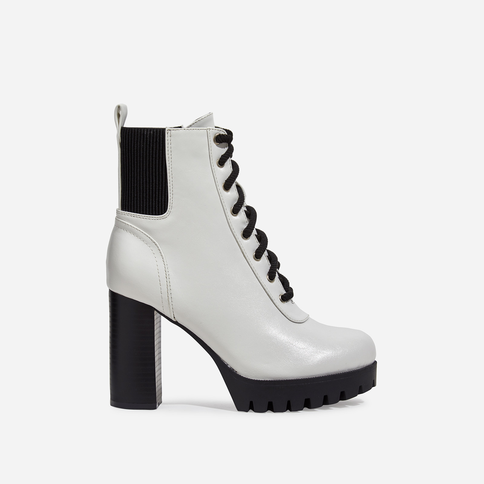 Jorja Platform Lace Up Cleated Sole Ankle Boot In White Faux Leather
