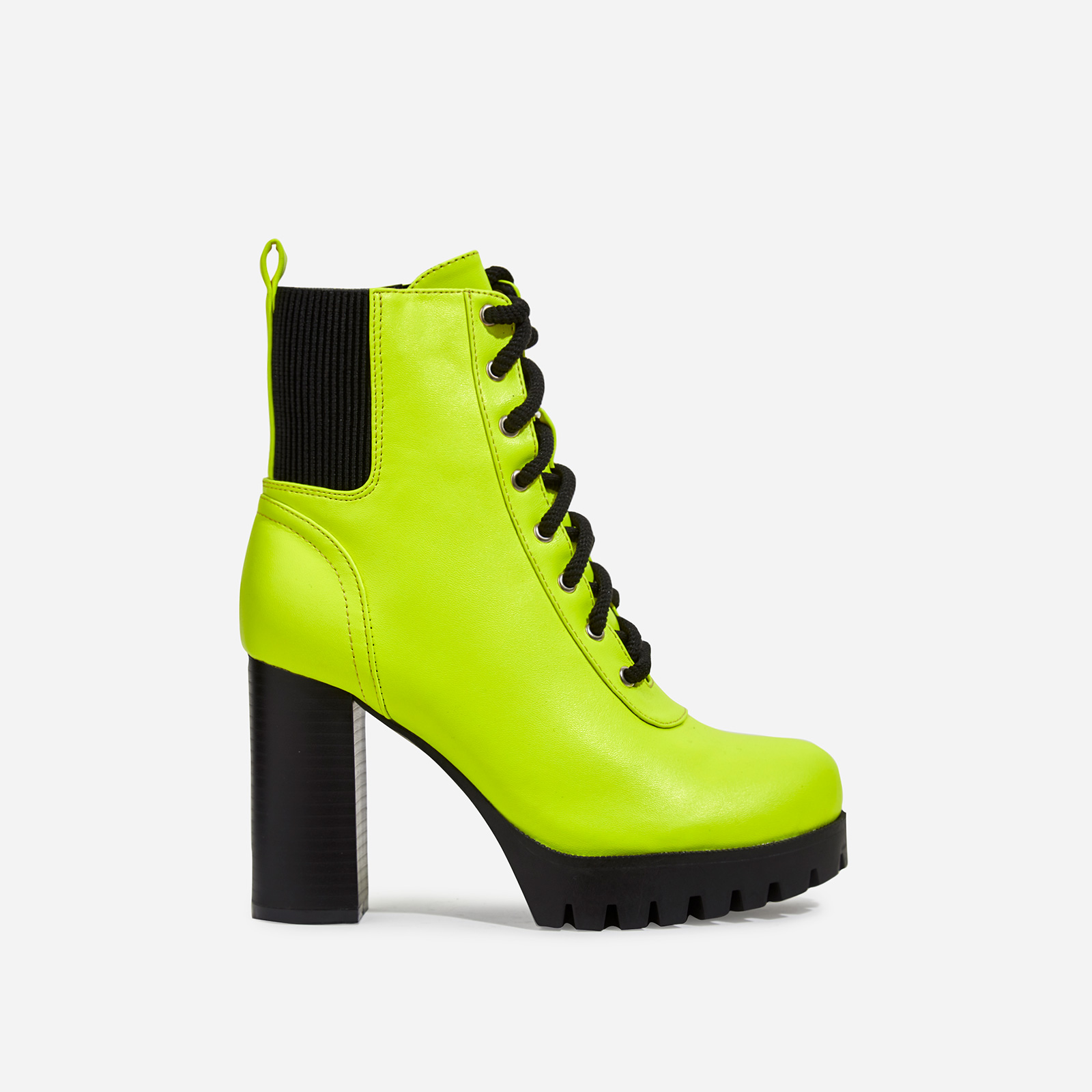 Jorja Platform Lace Up Cleated Sole Ankle Boot In Lime Green Faux Leather