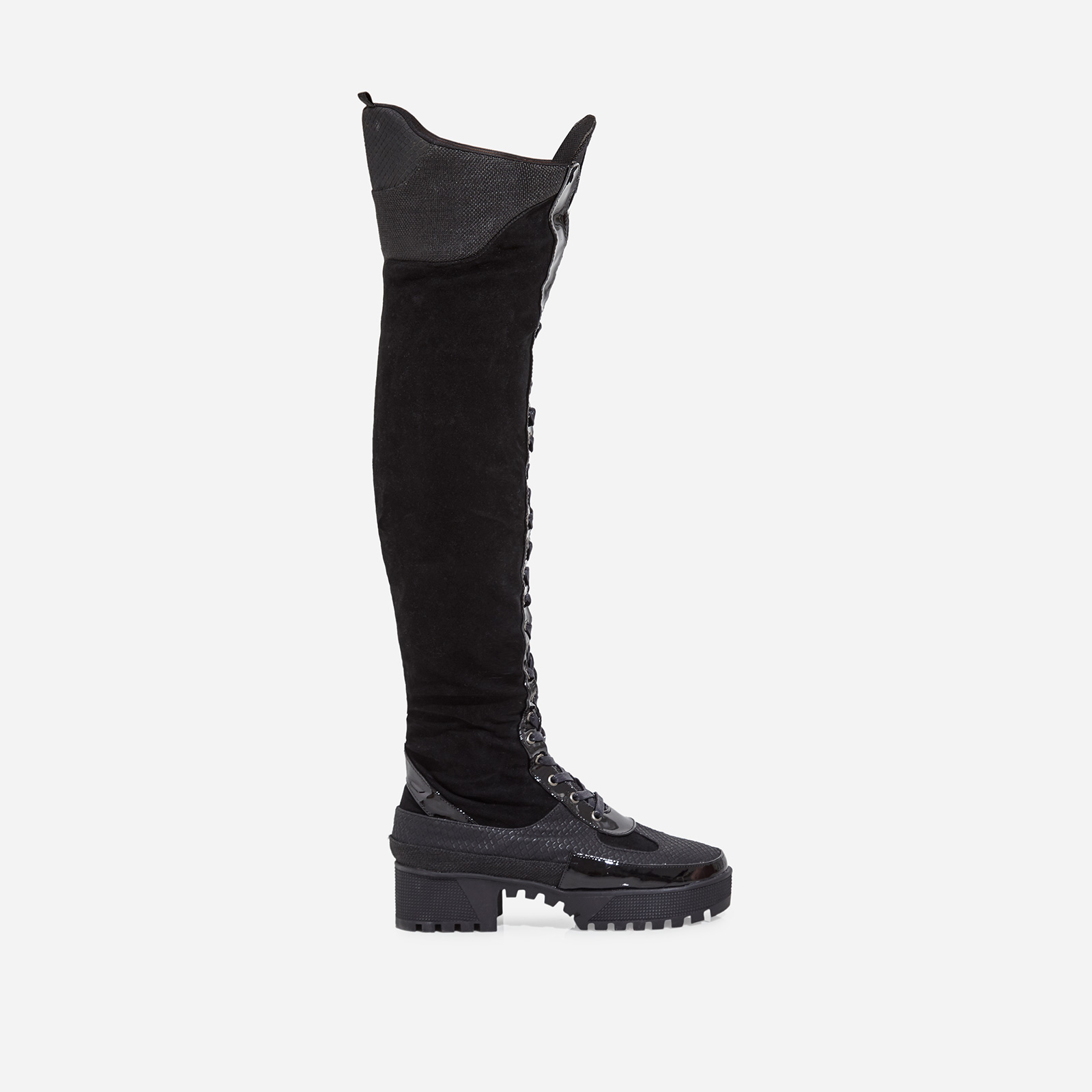 Mischief Chunky Sole Lace Up Thigh High Long Boot In Black