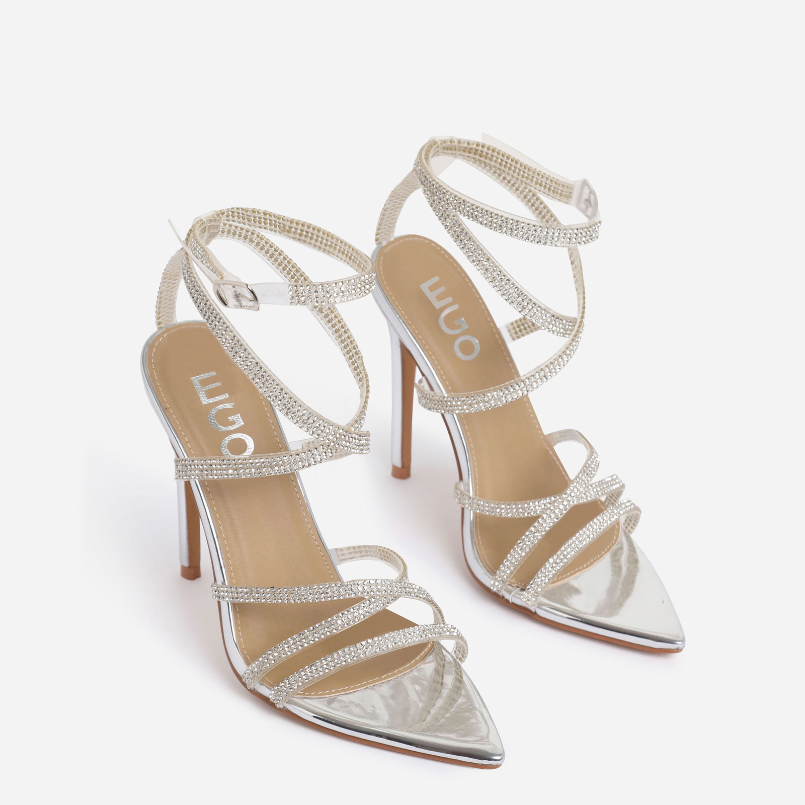 Precious Diamante Detail Pointed Toe Heel In Silver Faux Leather