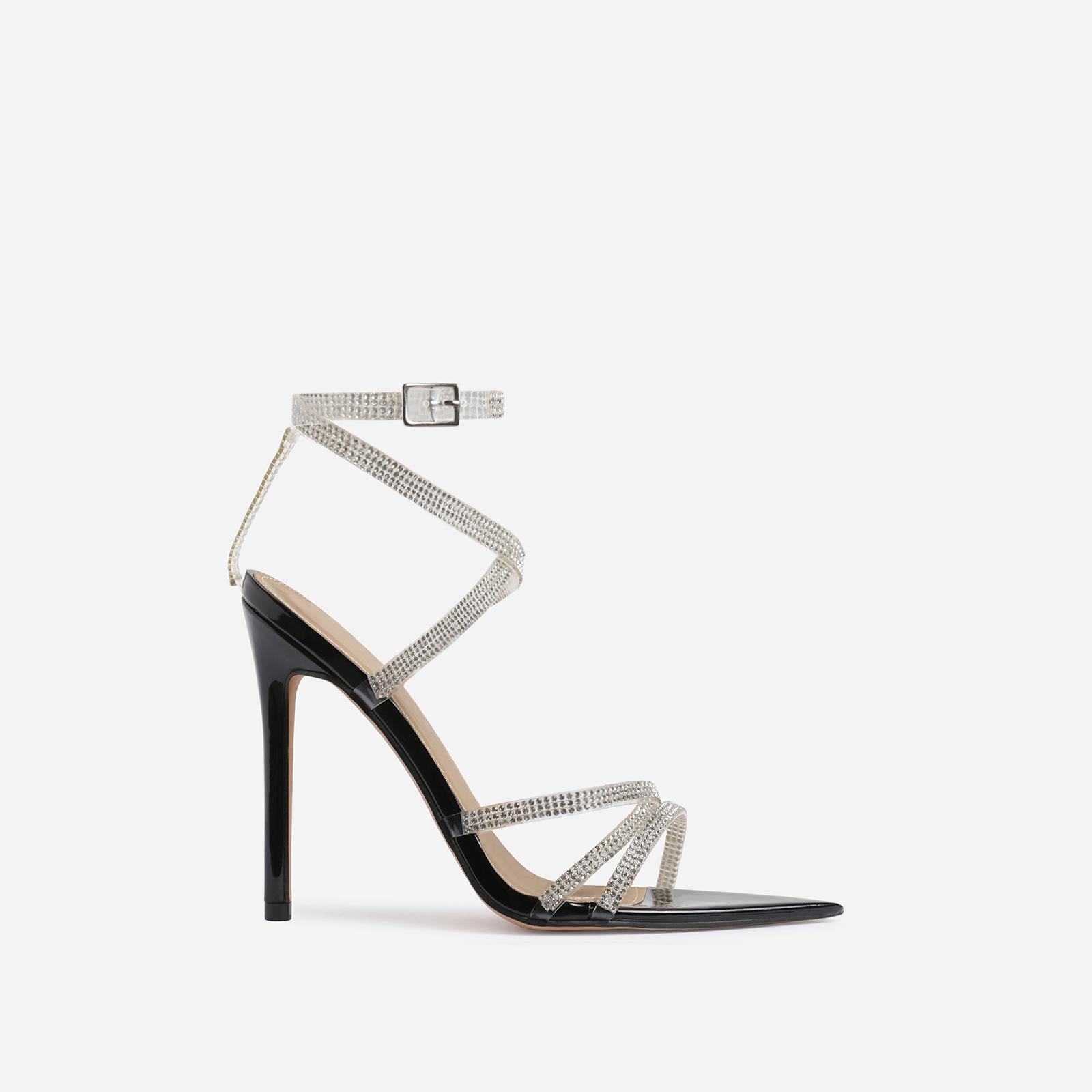Precious Diamante Detail Pointed Toe Heel In Black Patent