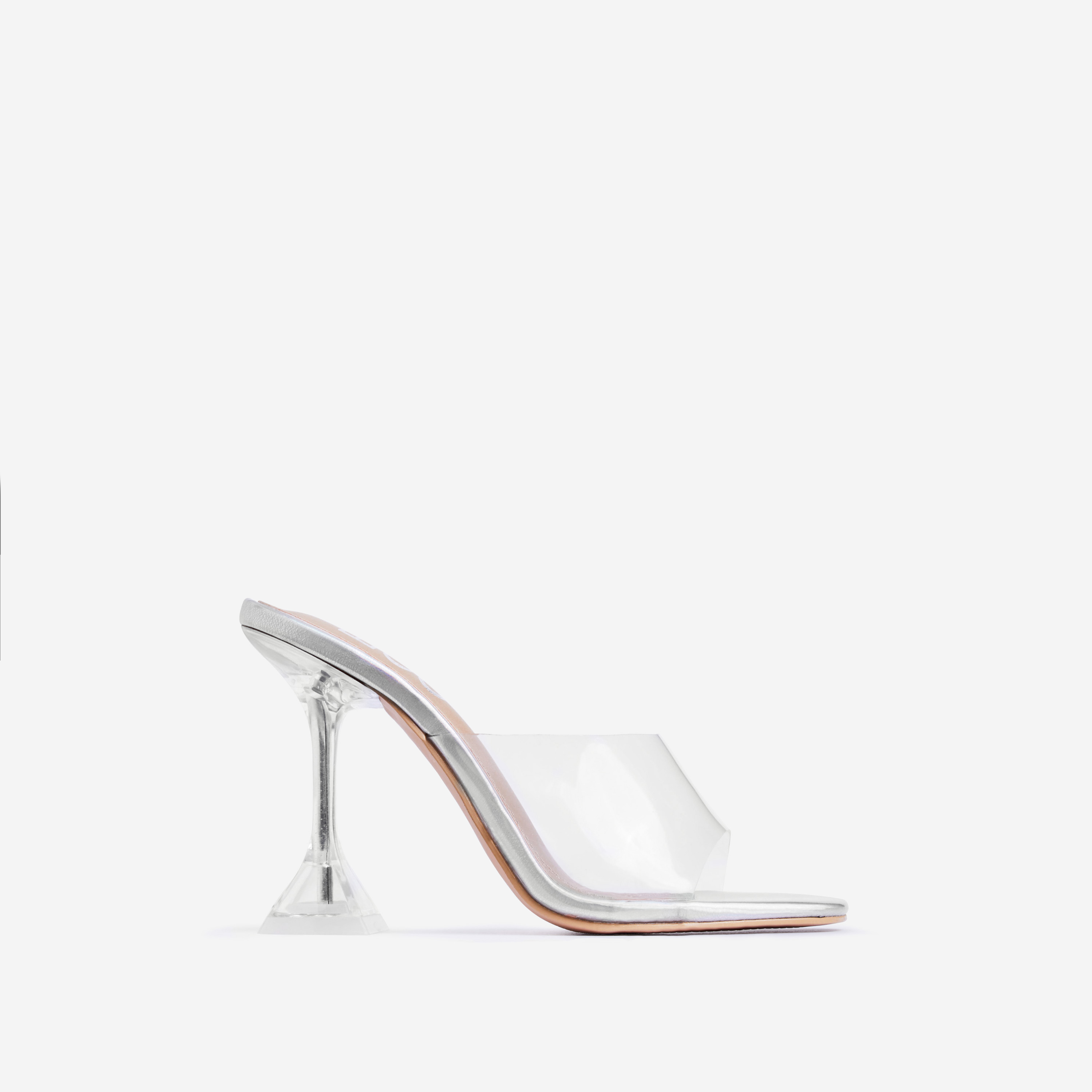 Lila Square Toe Perspex Heel Mule In Silver Holographic Faux Leather