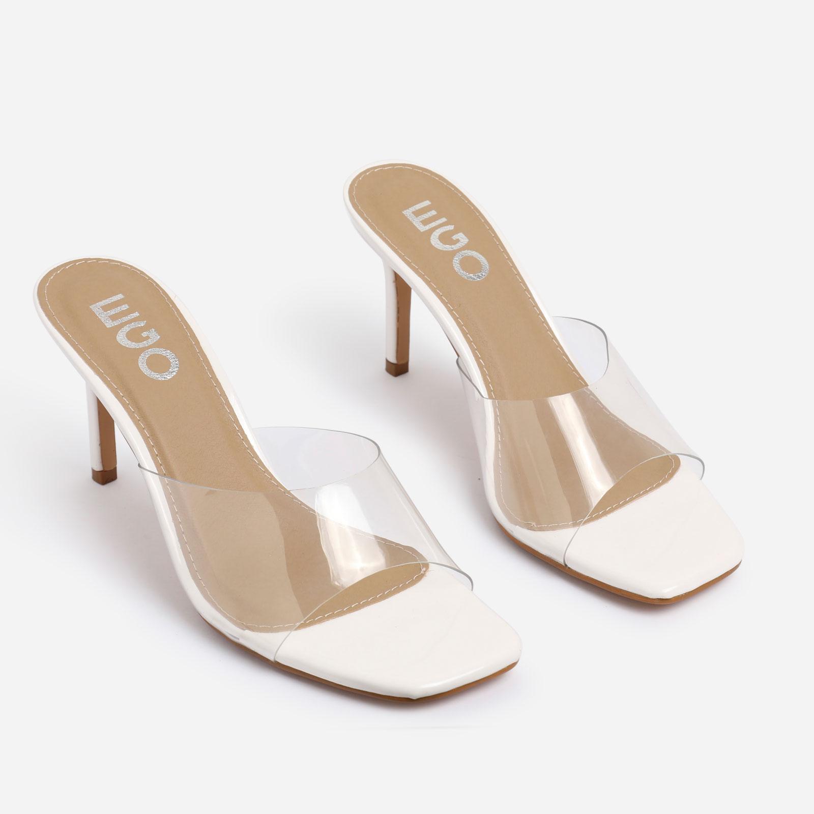Rexa Square Peep Toe Perspex Kitten Heel Mule In White Patent