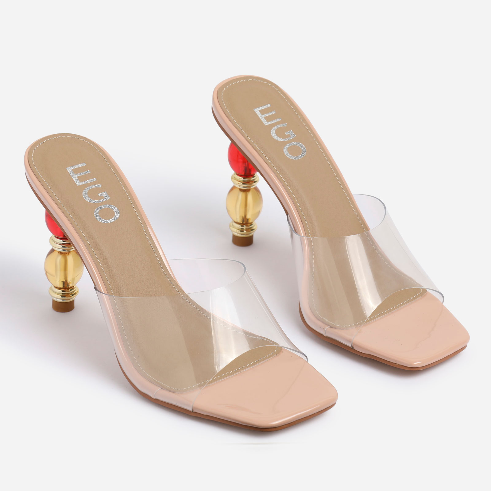Wanda Peep Toe Beaded Heel Mule In Nude Patent