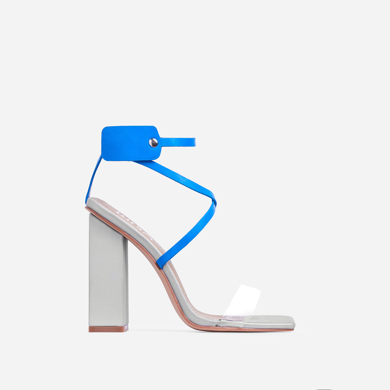 Cocktail Perspex Square Toe Block Heel In Silver Reflective And Blue Faux Leather