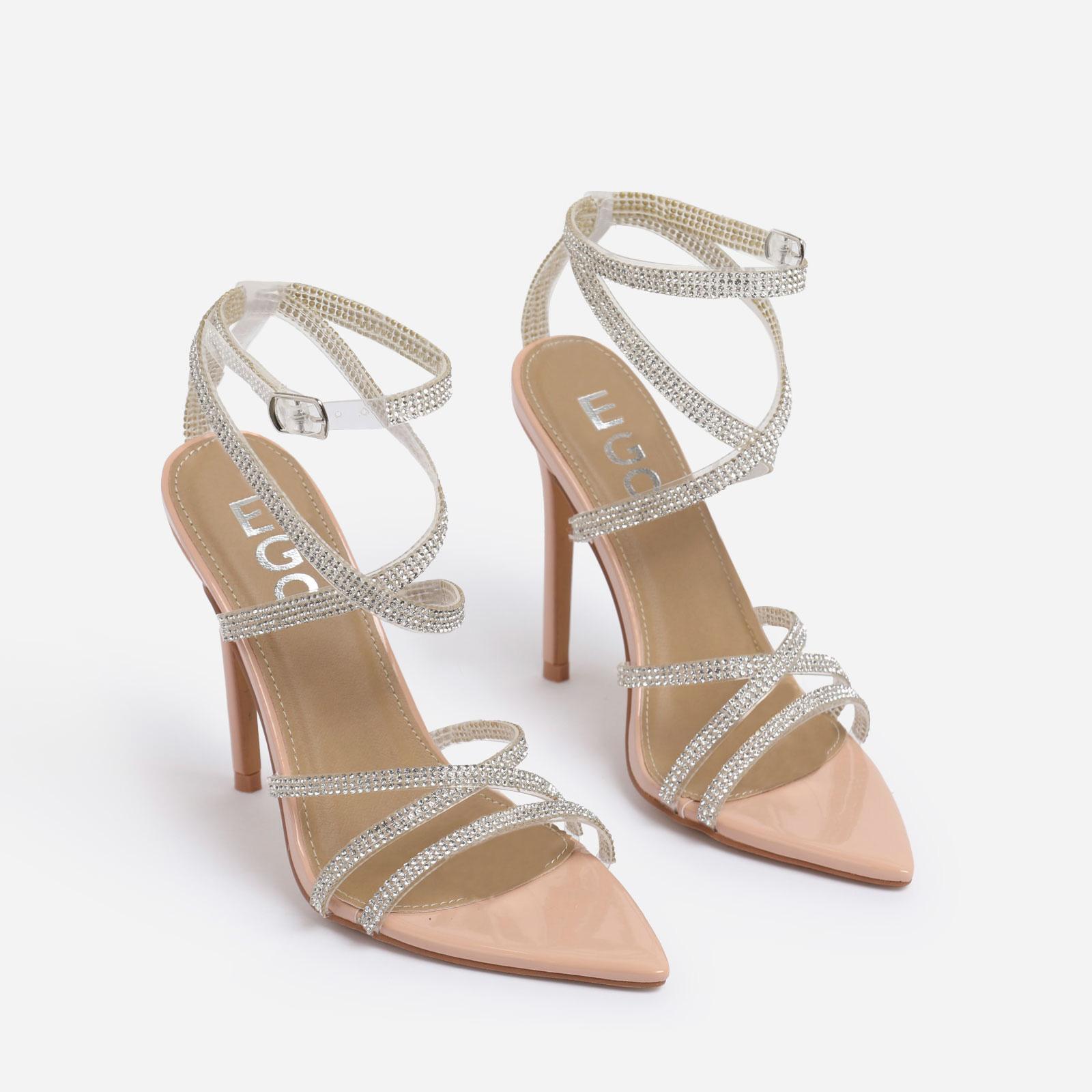 Precious Diamante Detail Pointed Toe Heel In Nude Patent