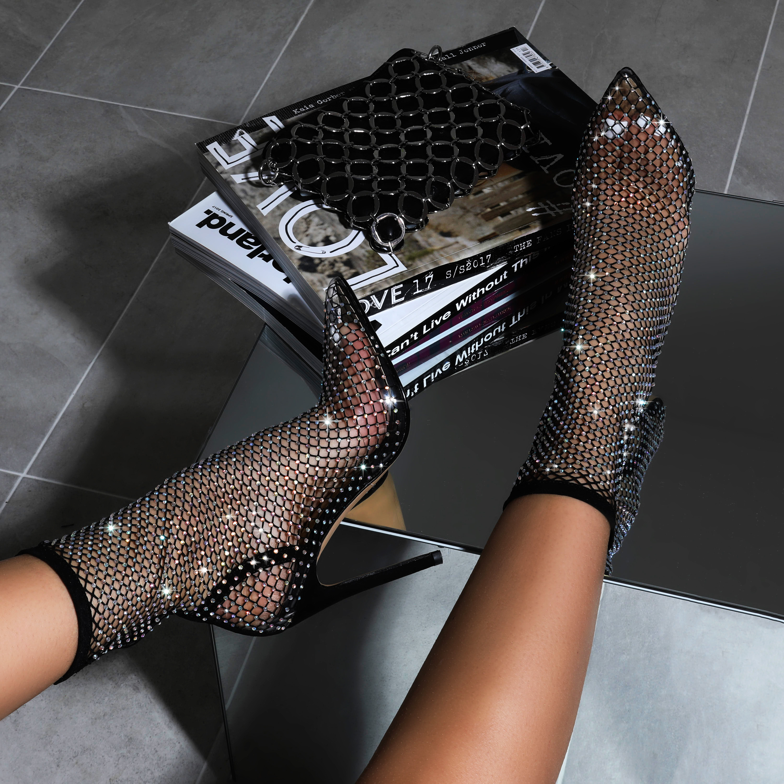 Vakili Diamante Detail Fishnet Heel In Black