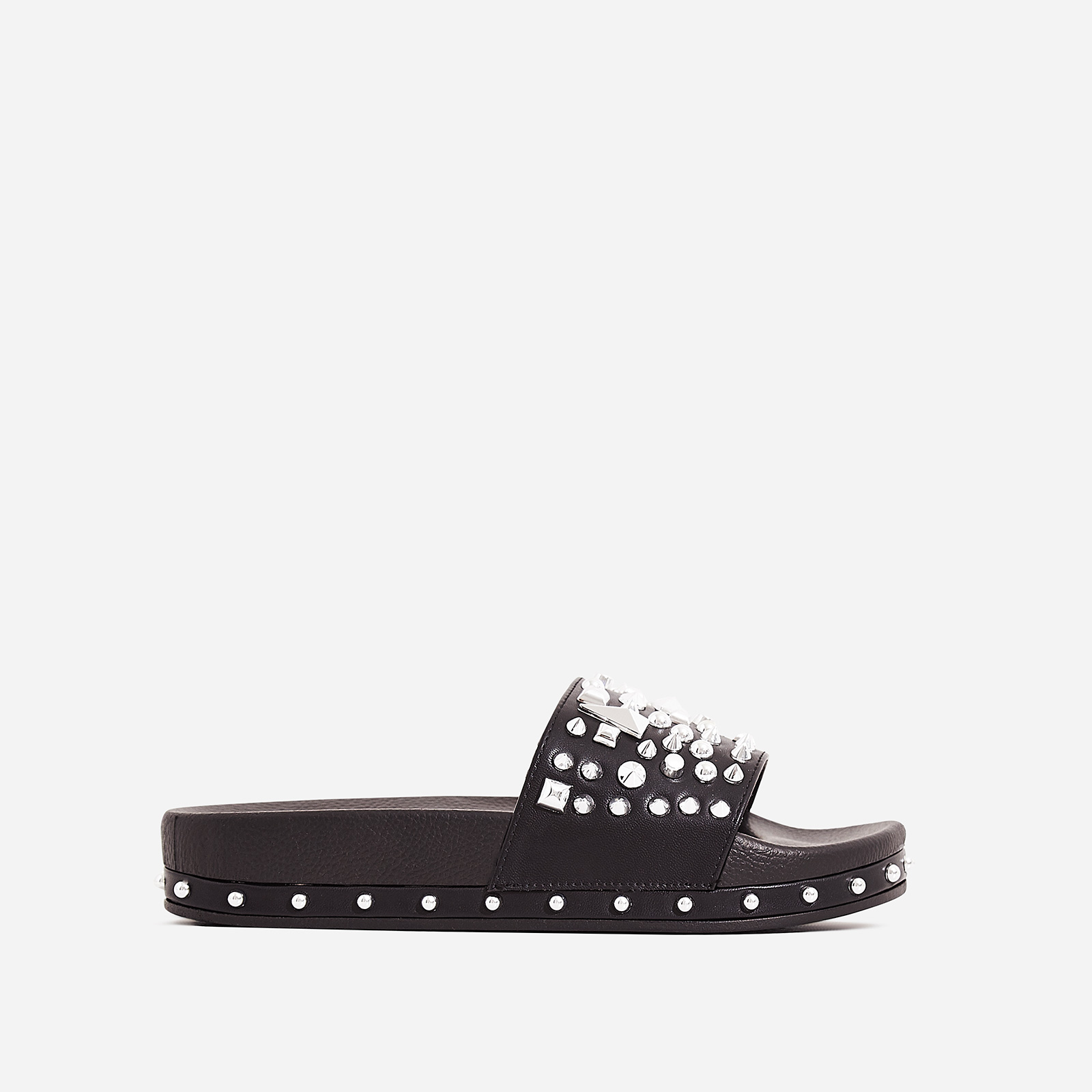 Reco Studded Detail In Rubber Slider In Black Faux Leather