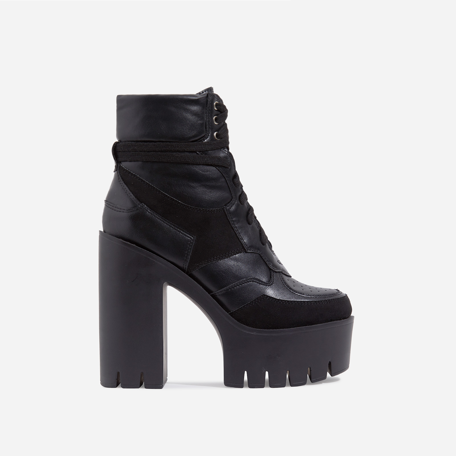 Penni Platform Lace Up Cleated Sole Ankle Biker Boot In Black Faux Leather
