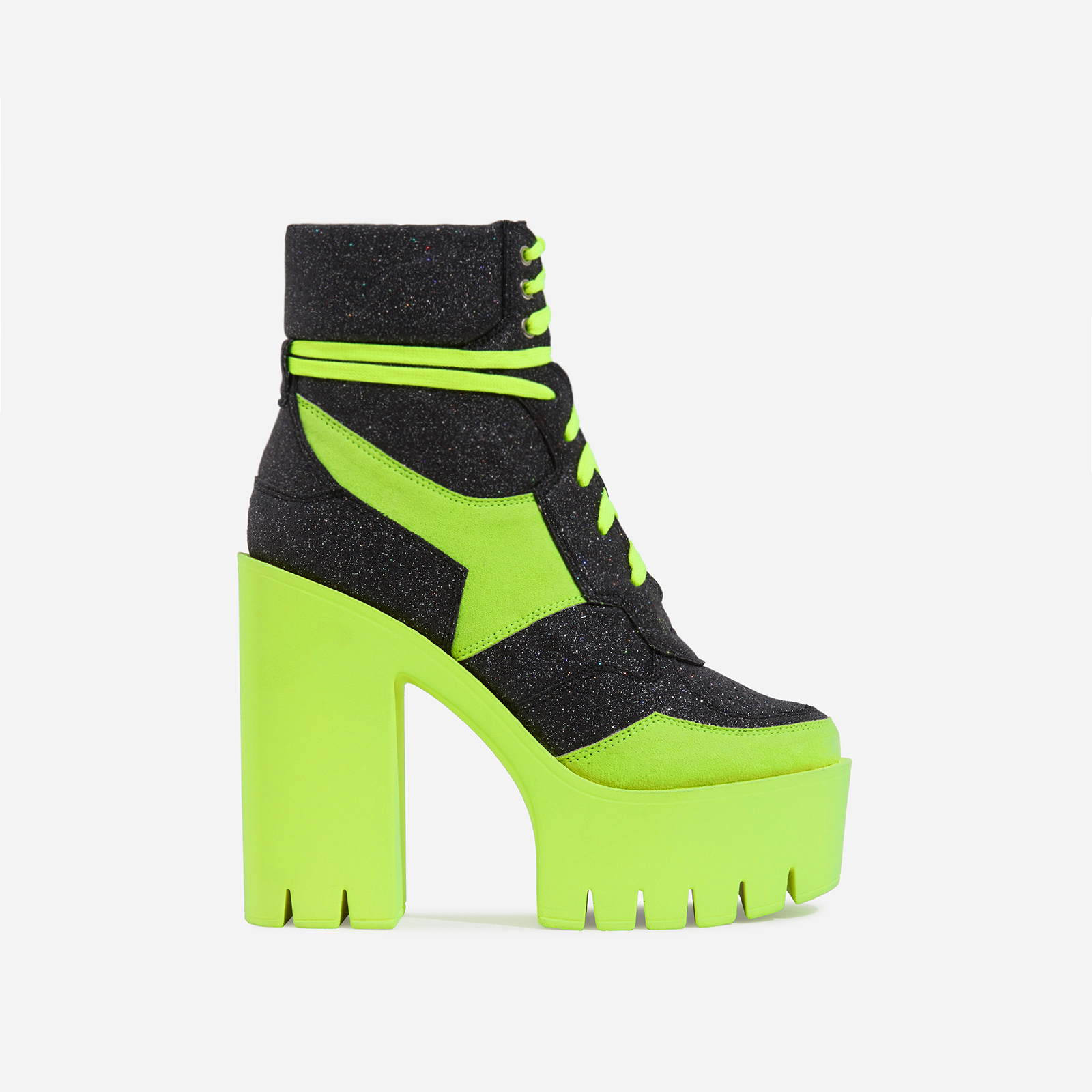 Penni Platform Lace Up Cleated Sole Ankle Biker Boot In Glitter And Lime Faux Suede