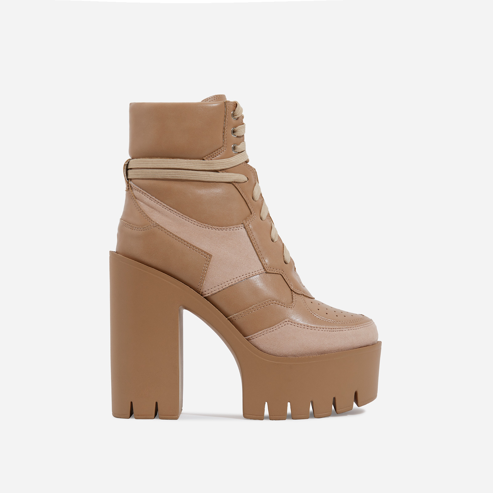 Penni Platform Lace Up Cleated Sole Ankle Biker Boot In Nude Faux Leather