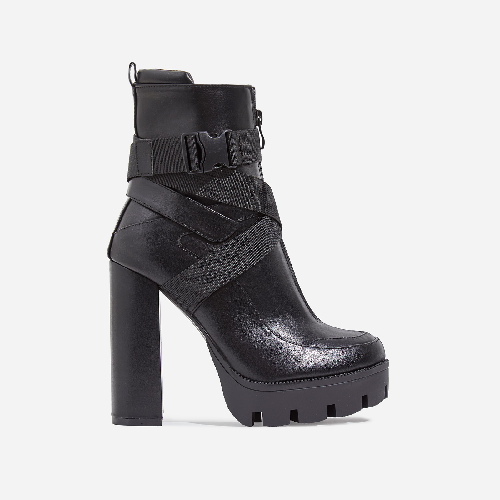 Efron Buckle Detail Platform Ankle Boot In Black Faux Leather