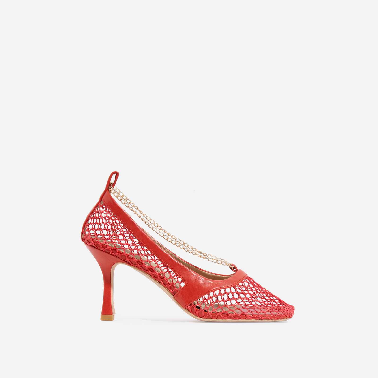 Montag Chain Detail Square Toe Fishnet Court Kitten Heel In Red Faux Leather