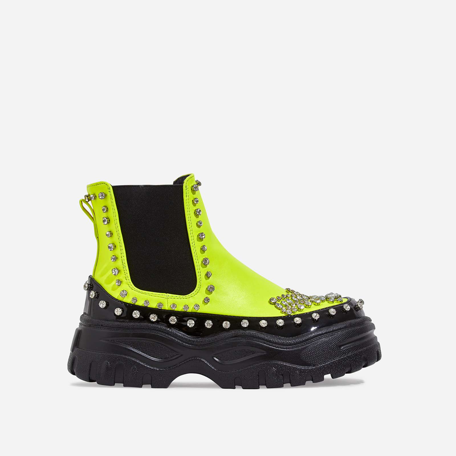 Leto Studded Diamante Chunky Sole Ankle Biker Boot In Neon Lime Green Faux Leather