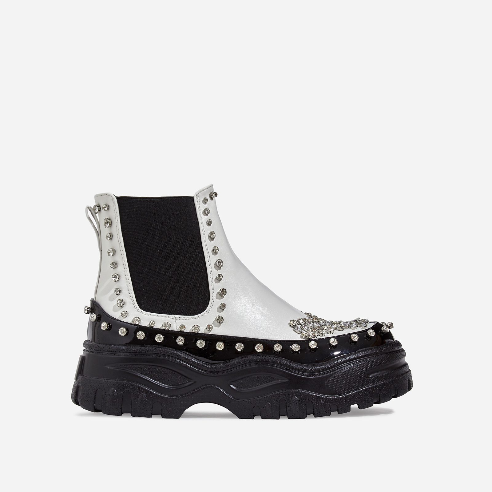 Leto Studded Diamante Chunky Sole Ankle Biker Boot In White Faux Leather