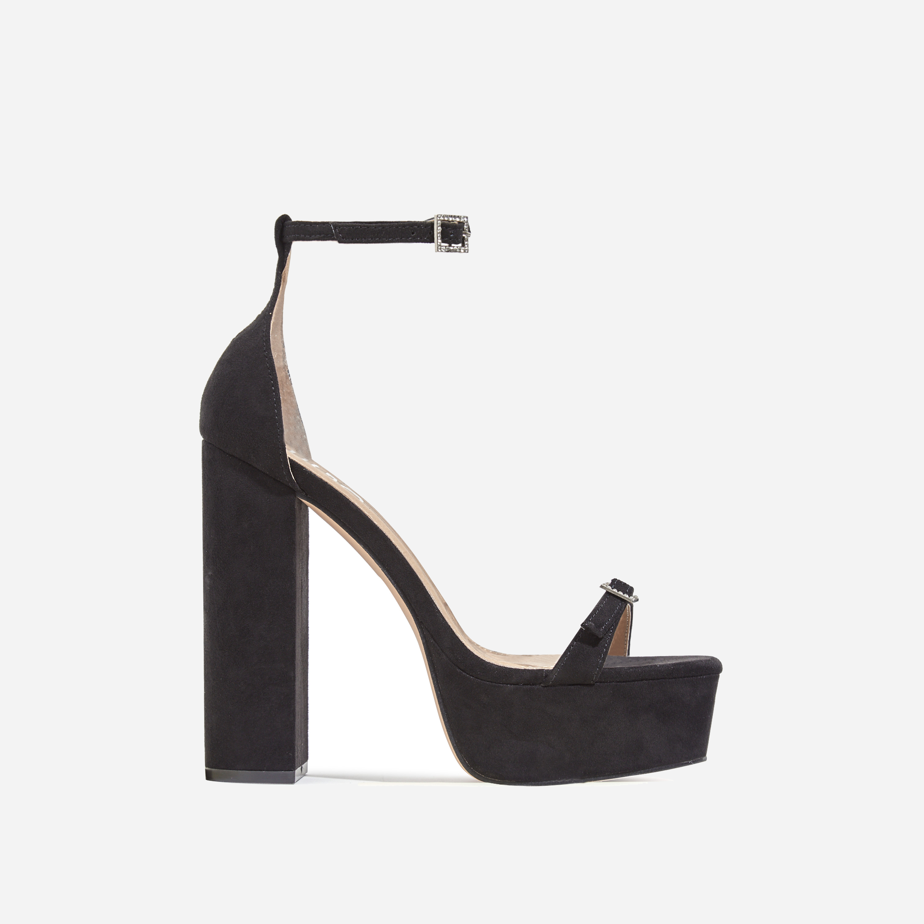 Milan Square Toe Barely There Platform Heel In Black Faux Suede