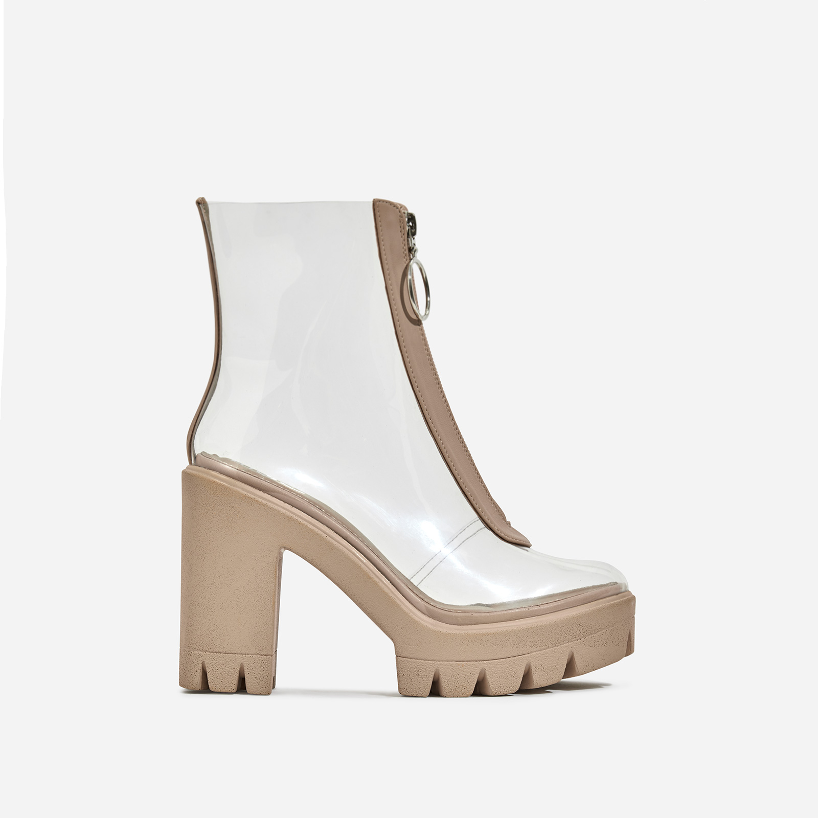 Pool Zip Detail Perspex Platform Ankle Boot In Nude