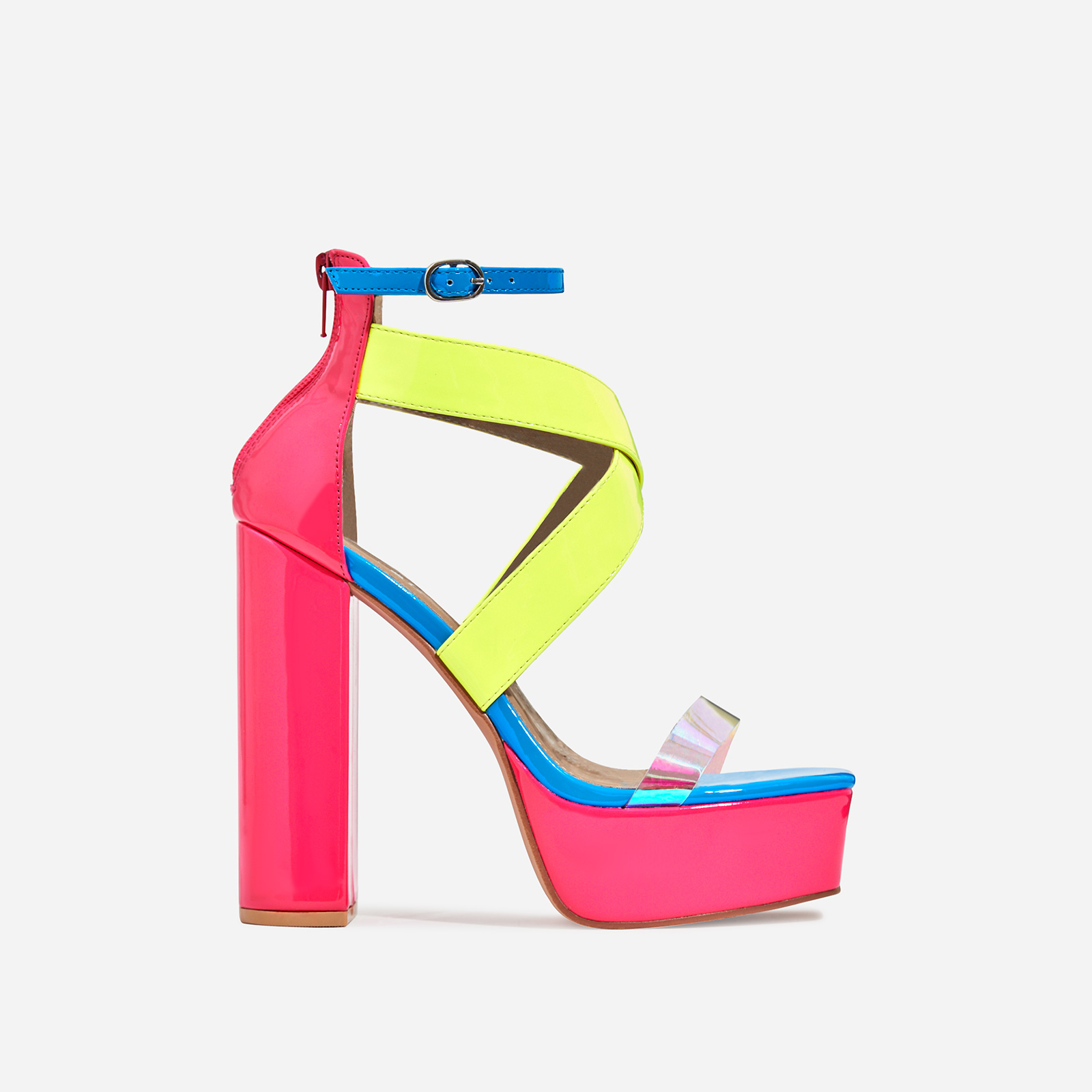 Nirvana Platform Square Toe Perspex Heel In Neon Multi Colour Patent