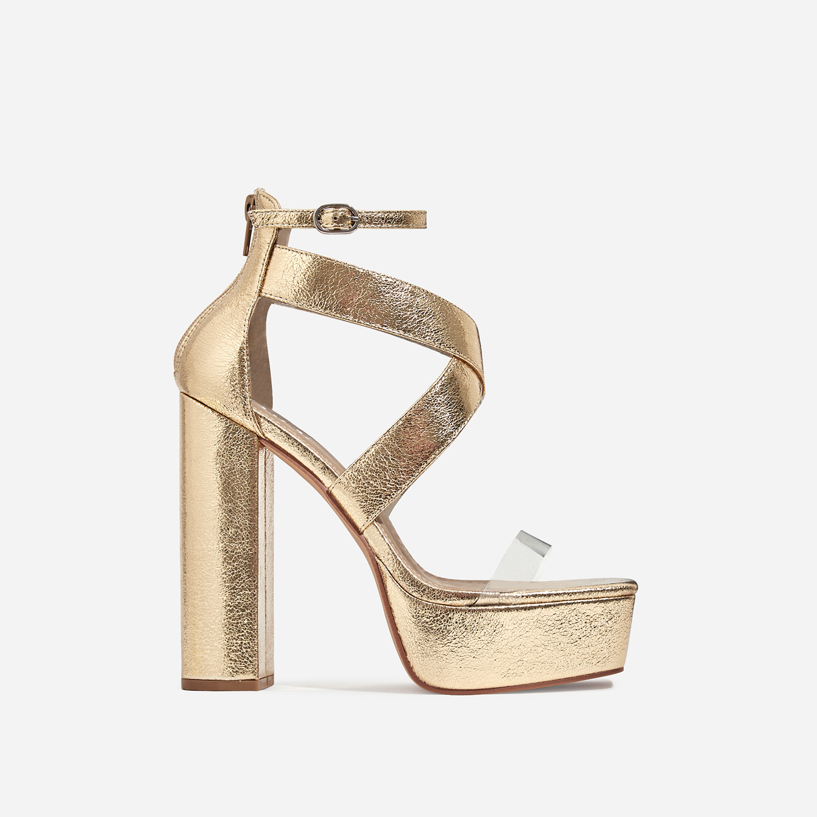 Nirvana Platform Square Toe Perspex Heel In Gold Faux Leather