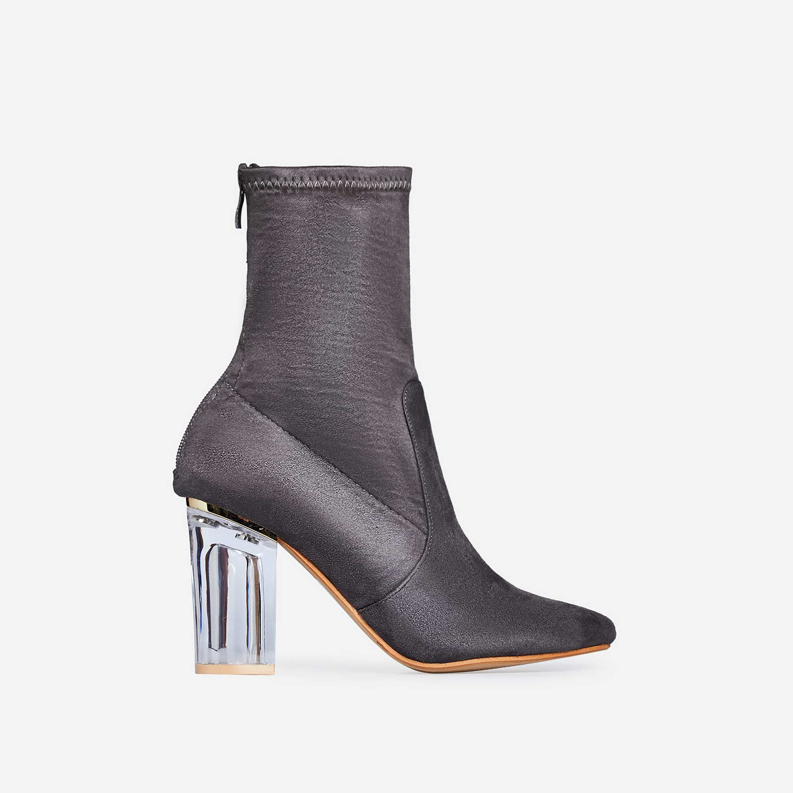 Maisie Perspex Block Heel Ankle Boot In Grey Faux Suede