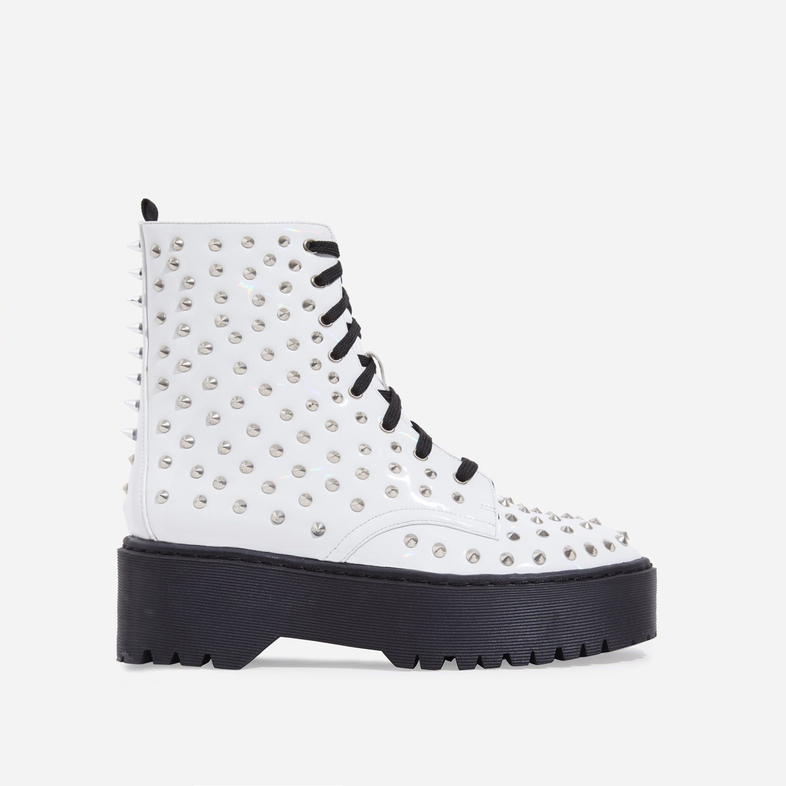 Pixie Studded Detail Lace Up Biker Boot In White Patent