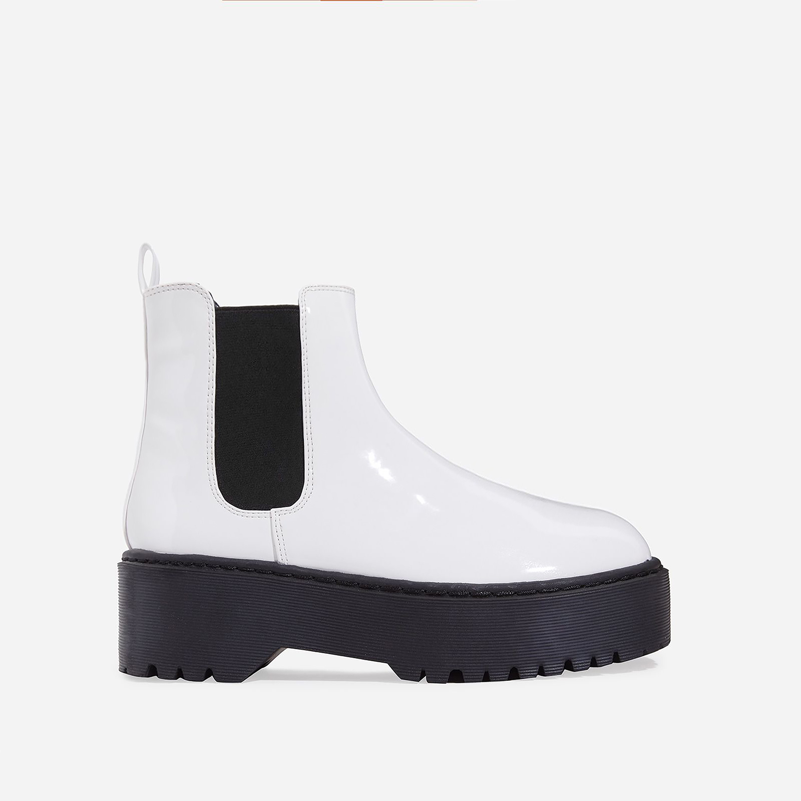 Tristan Chelsea Ankle Biker Boot In White Patent