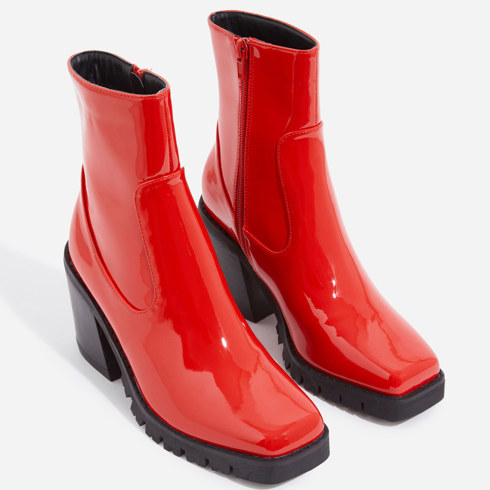 Venza Chunky Sole Western Ankle Boot In Red Patent