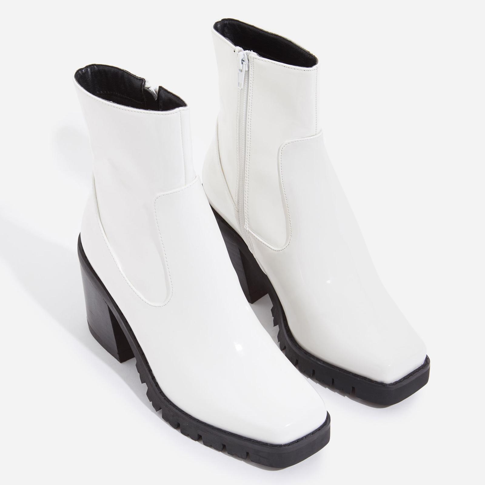 Venza Chunky Sole Western Ankle Boot In White Patent