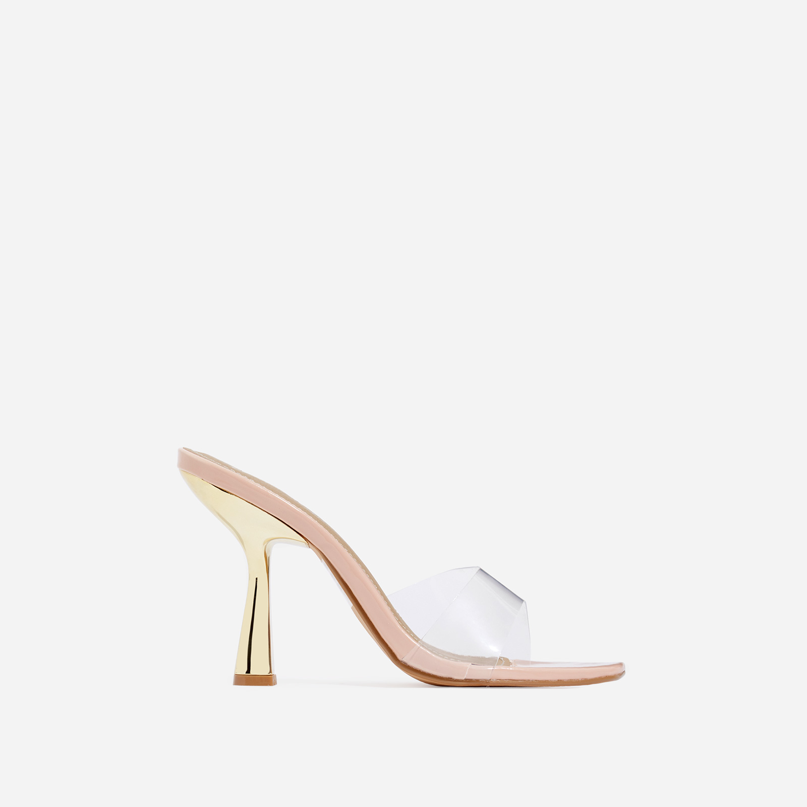 Found Square Peep Toe Clear Perspex Heel Mule In Nude Patent