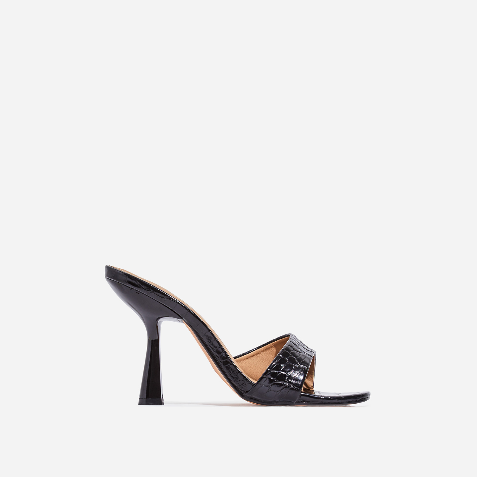 Found Square Peep Toe Heel Mule In Black Croc Print Faux Leather