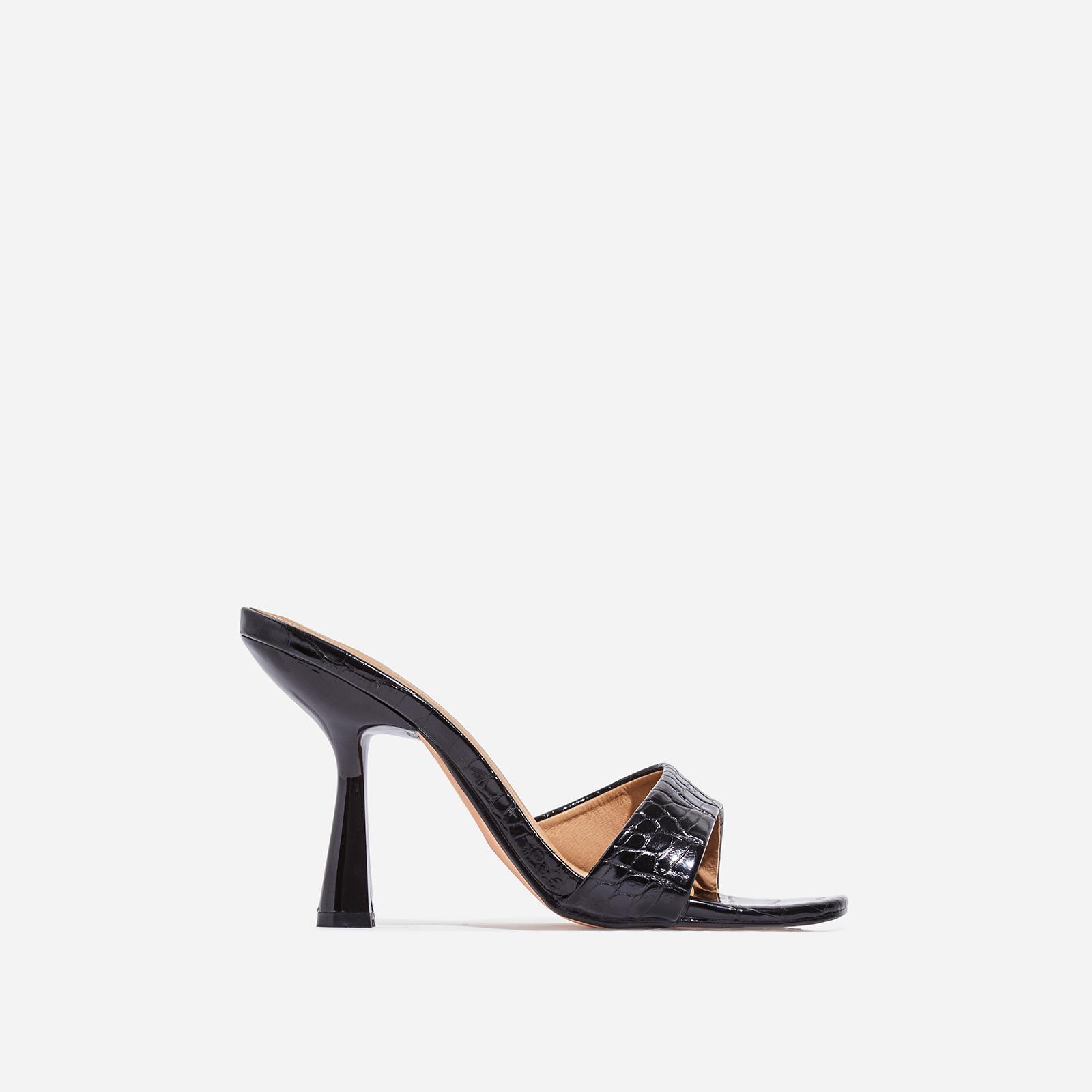 Found Square Peep Toe Heel Mule In Black Croc Print Faux Leather