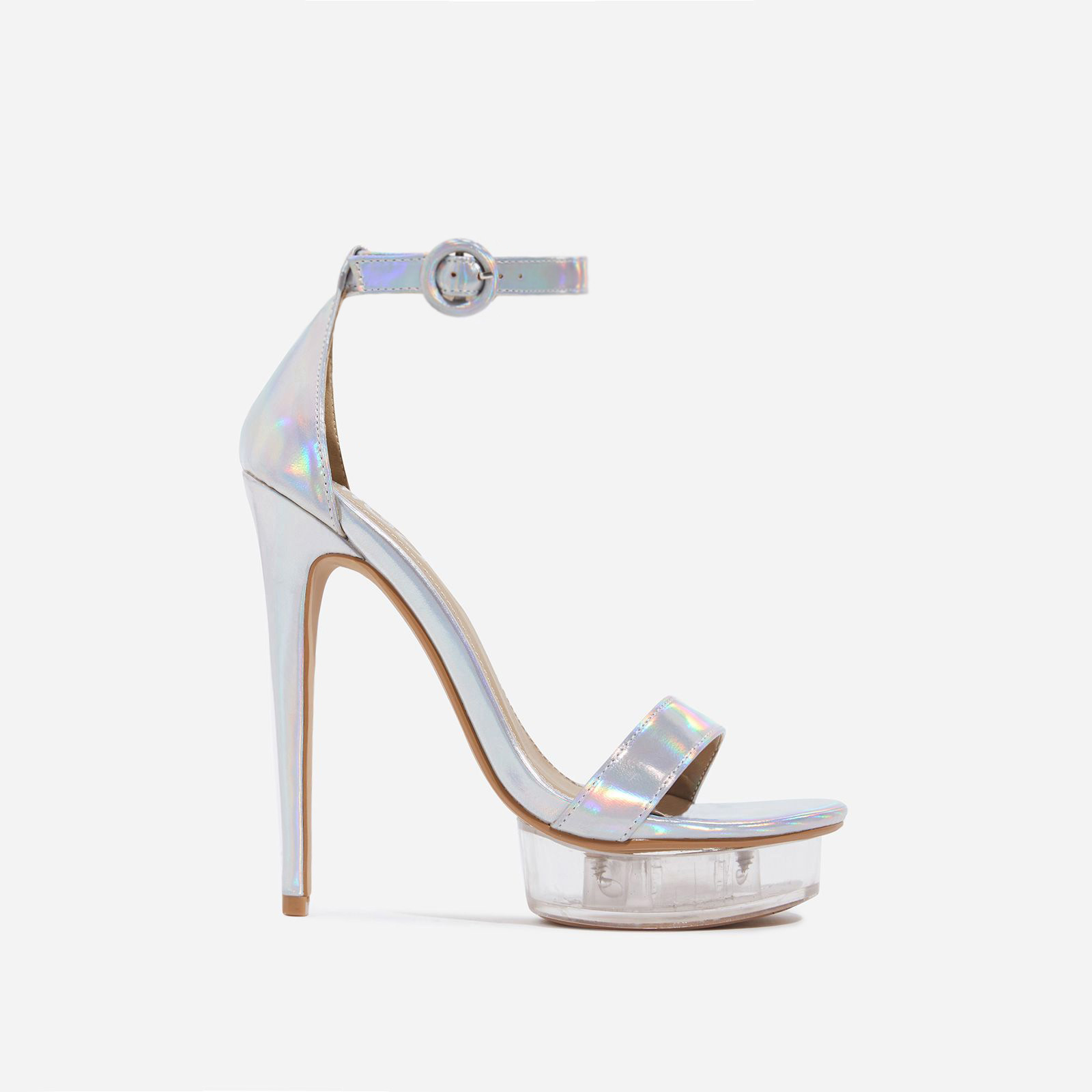 Passion Barely There Perspex Platform Heel In Silver Holographic Faux Leather