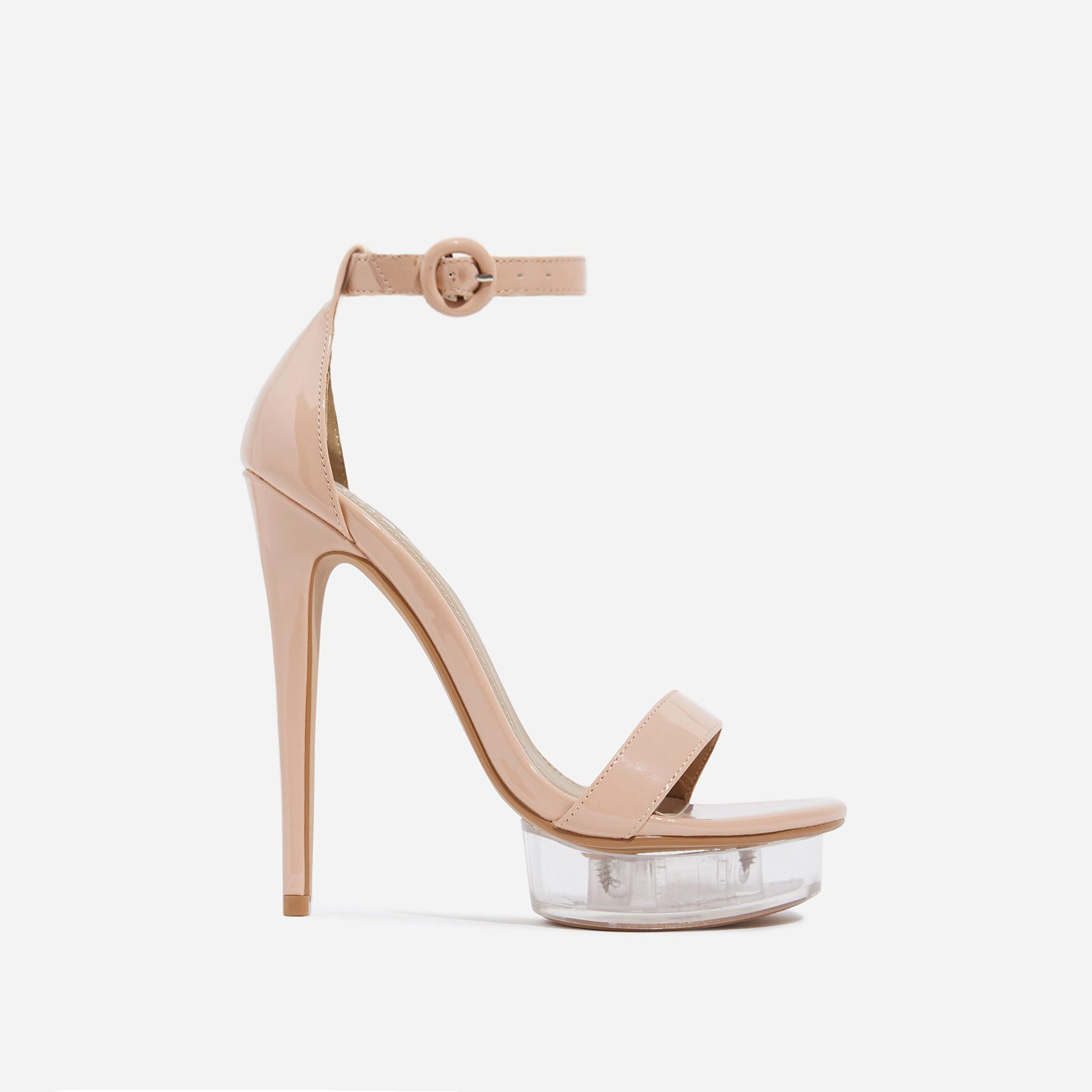 Passion Barely There Perspex Platform Heel In Nude Patent