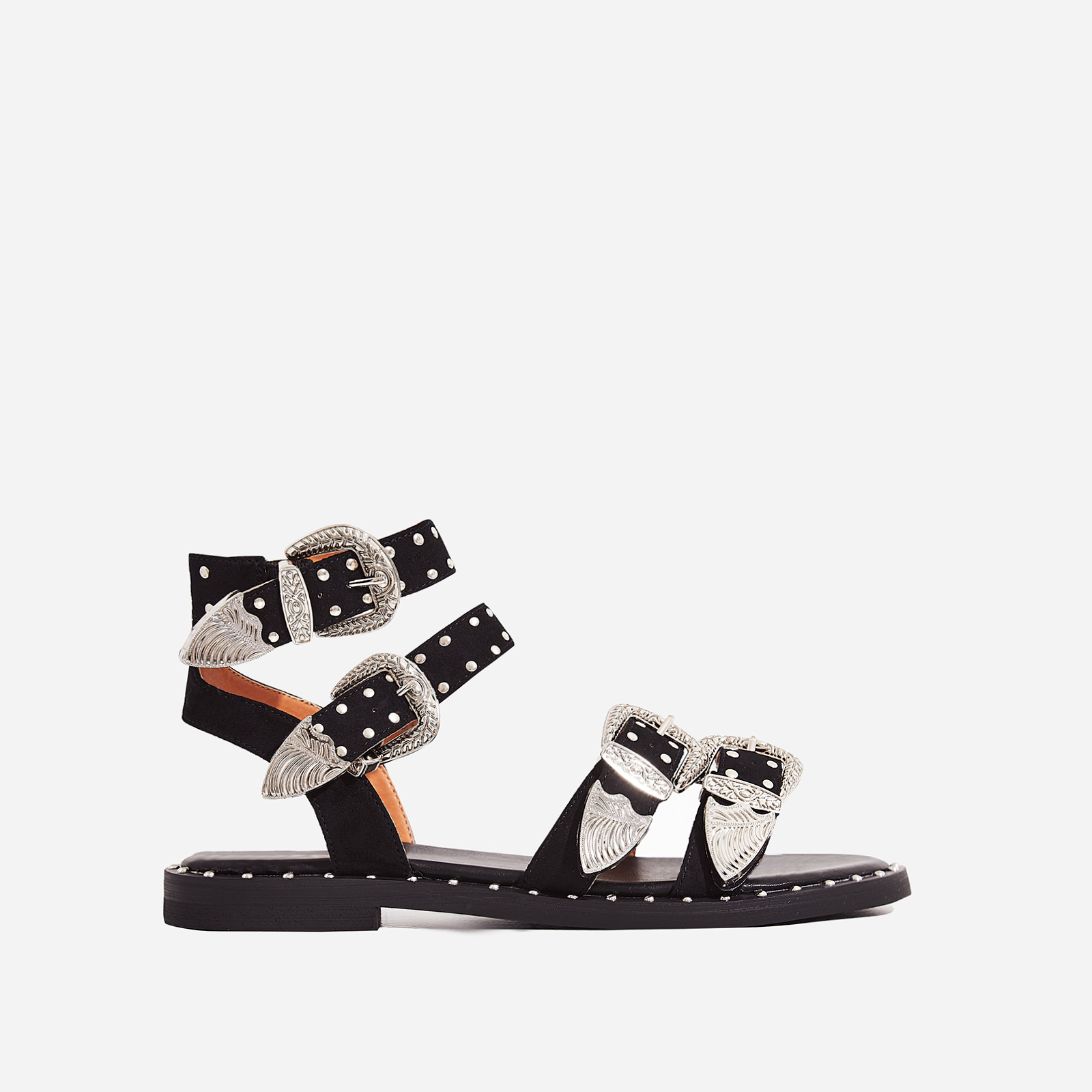 Albie Studded Detail Gladiator Sandal In Black Faux Suede