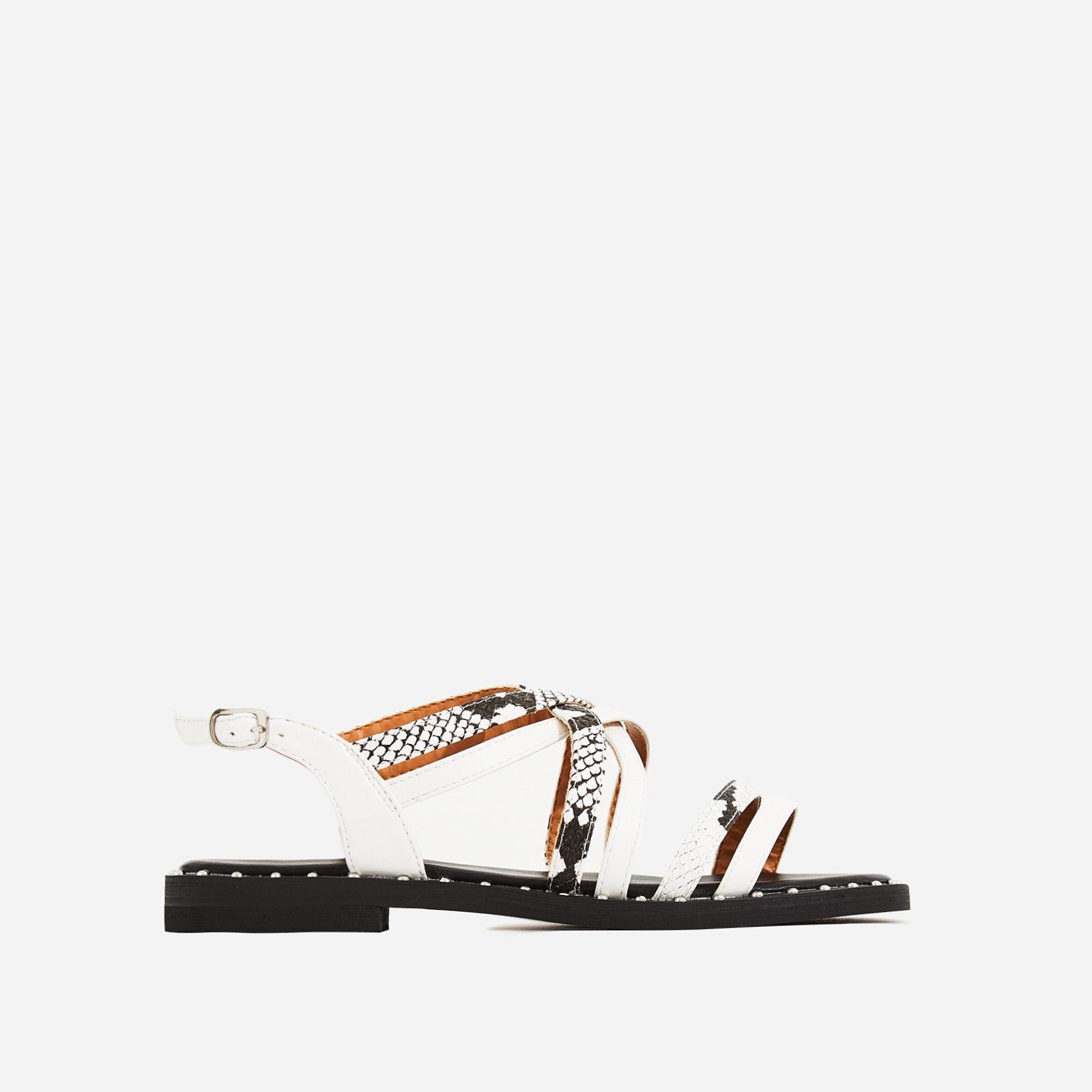 Regan Snake Print Detail Gladiator Sandal In White Faux Leather