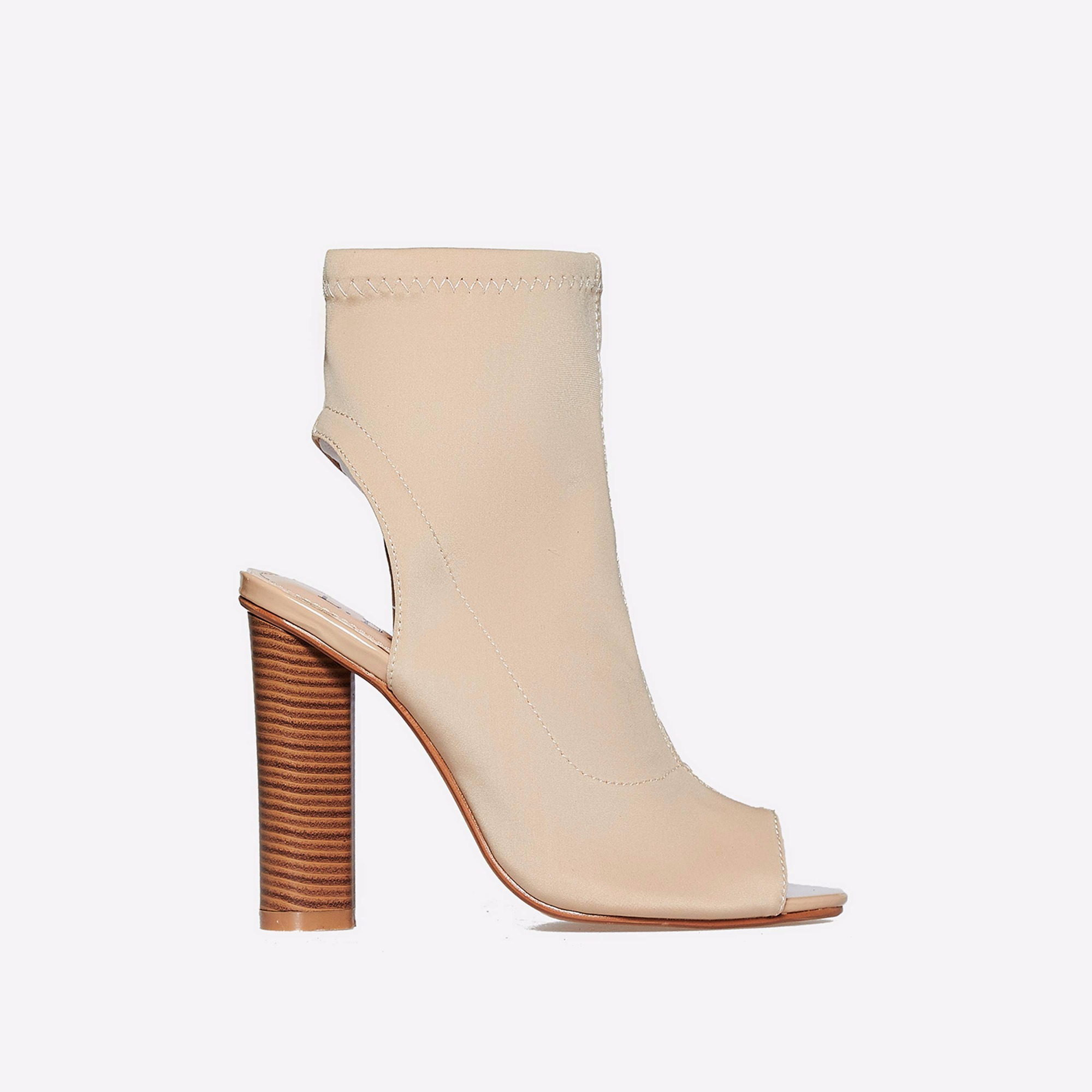 Sylvie Cut Out Peep Toe Ankle Boot In Nude Lycra