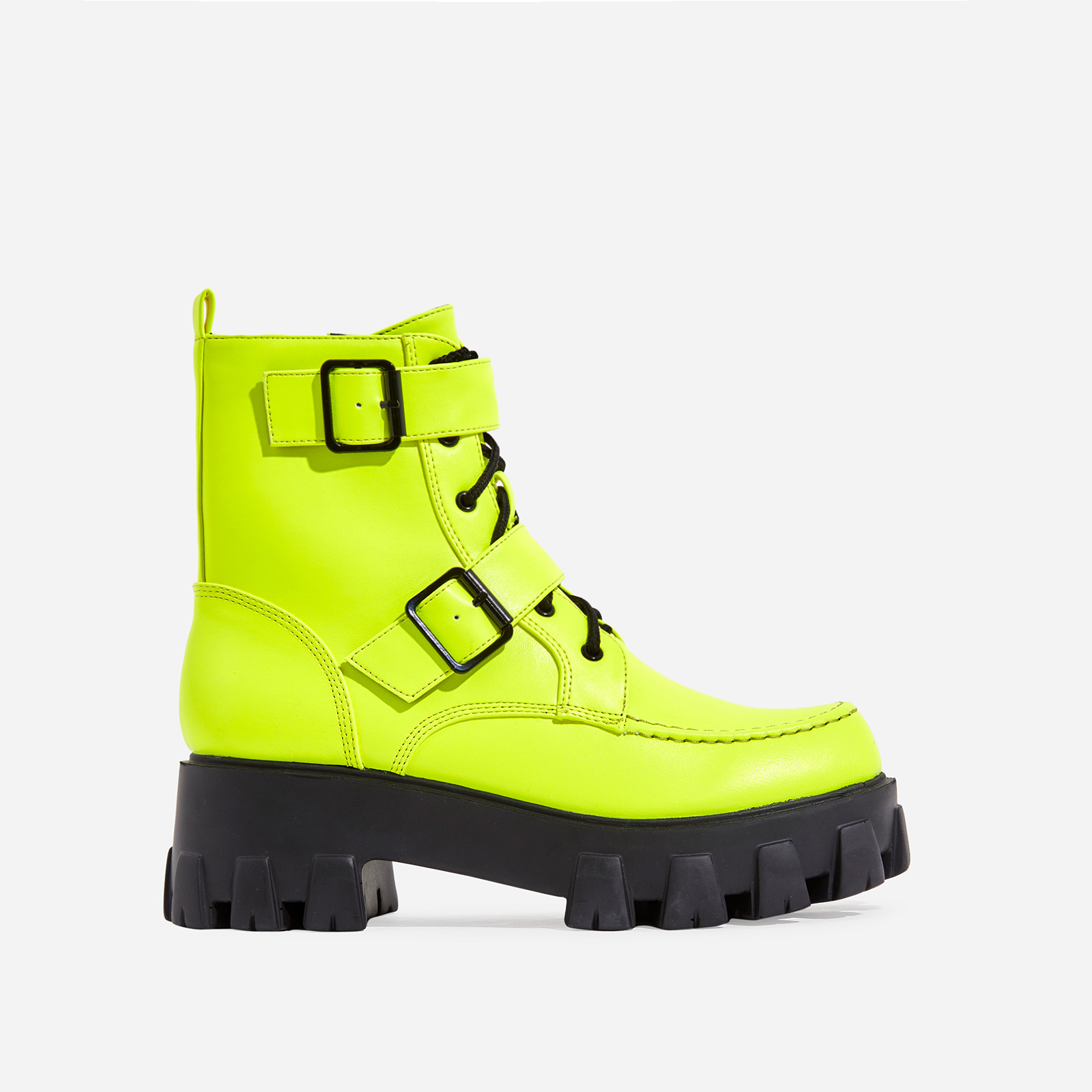 Lambo Buckle Detail Chunky Sole Lace Up Ankle Biker Boot In Neon Green Faux Leather