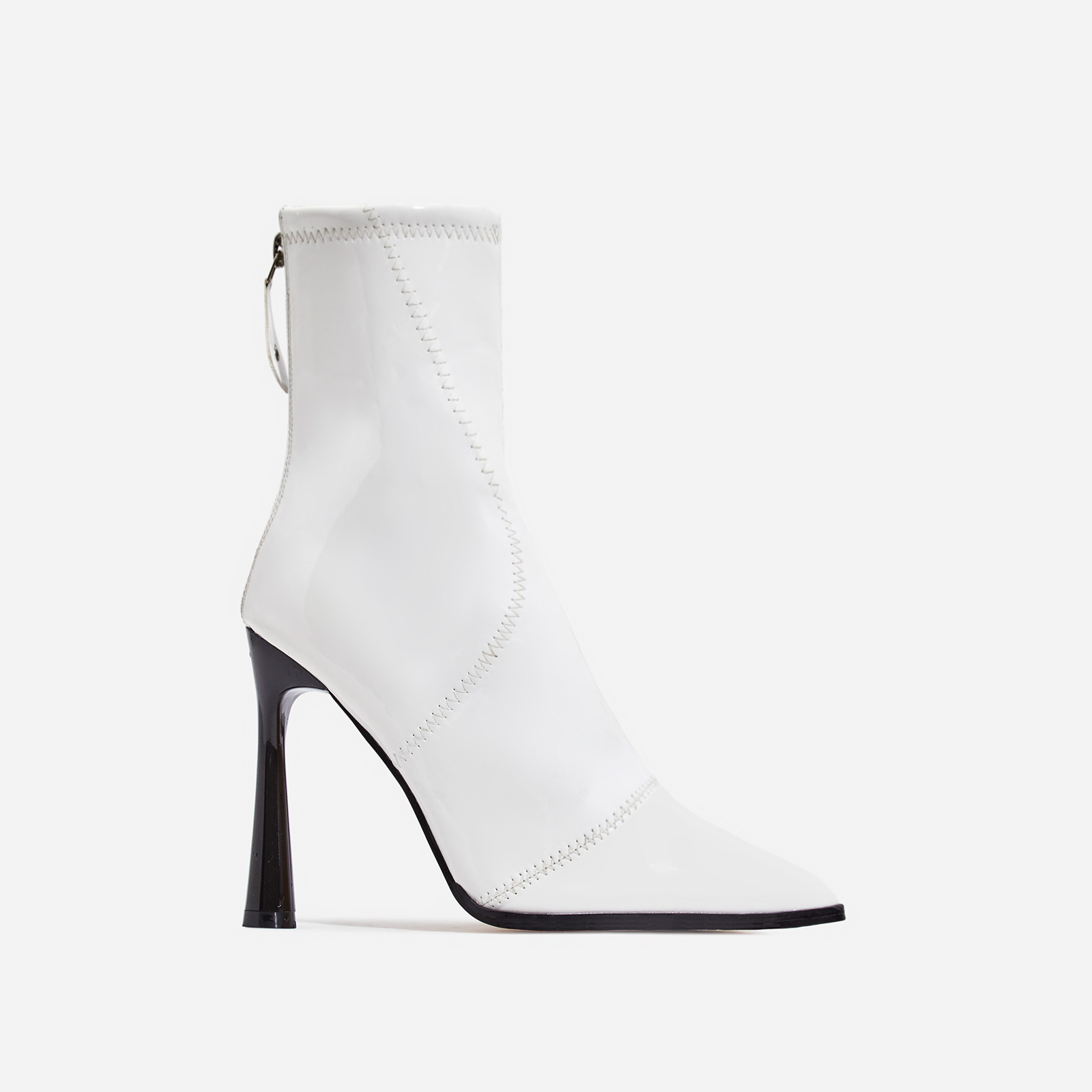 Nolan Curved Heel Ankle Boot In White Patent