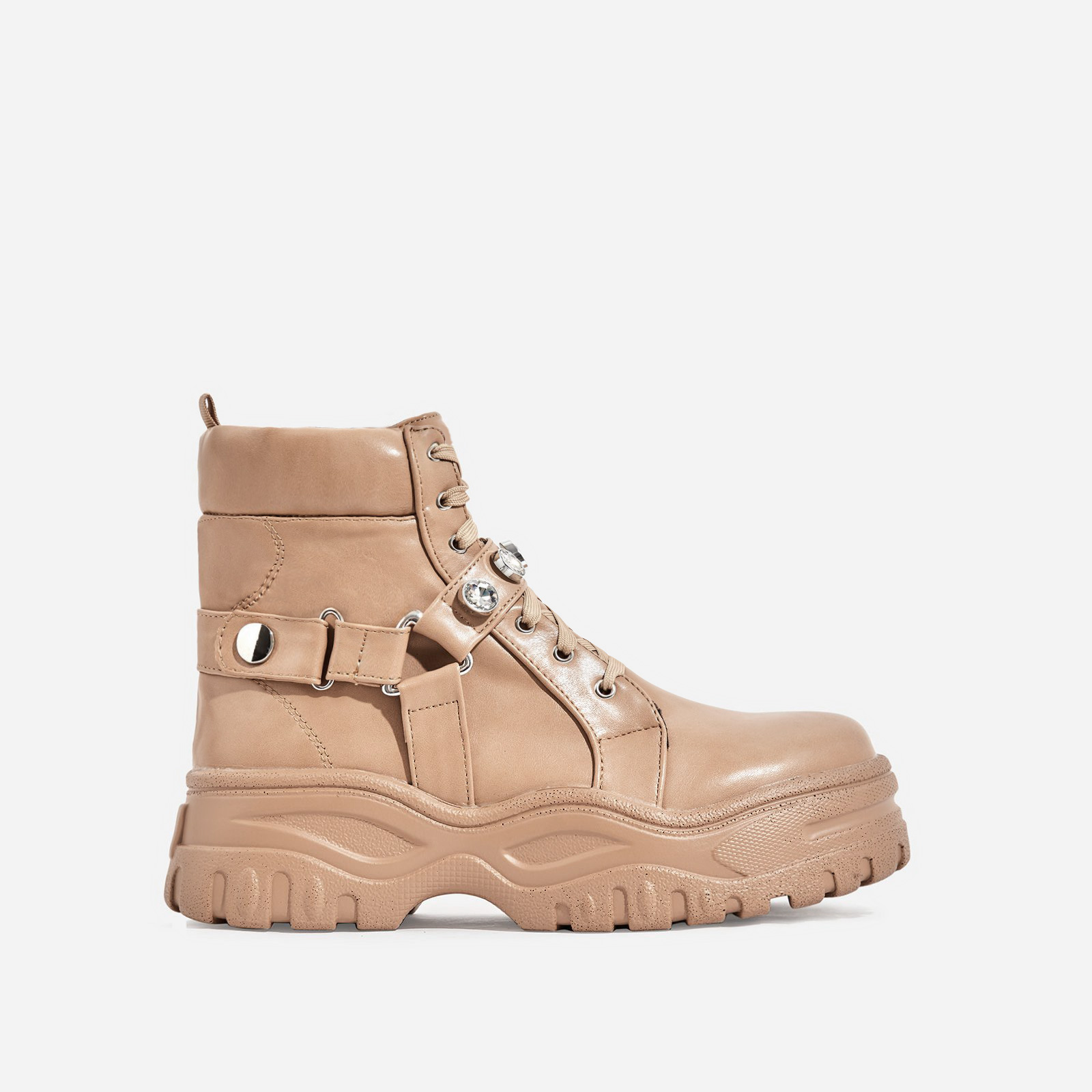 Buxton Gem Detail Chunky Sole Ankle Biker Boot In Nude Faux Leather