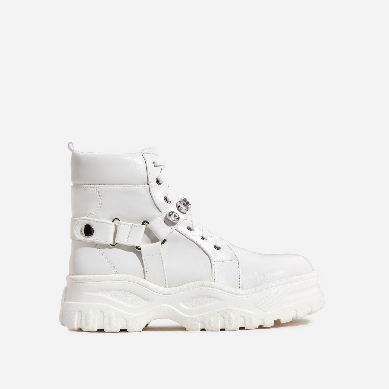 Buxton Gem Detail Chunky Sole Ankle Biker Boot In White Faux Leather