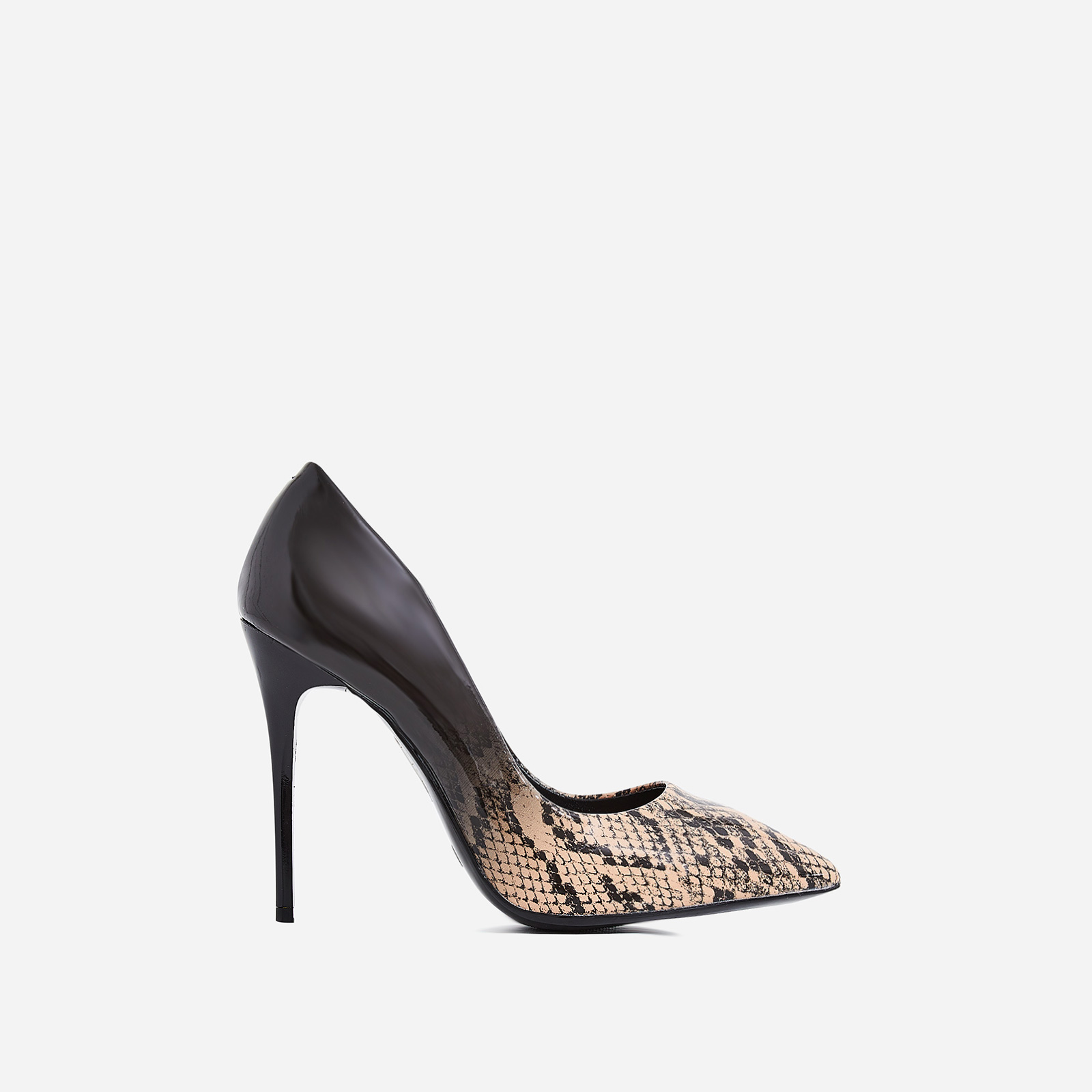 Aleka Court Heel In Nude Snake Print Patent