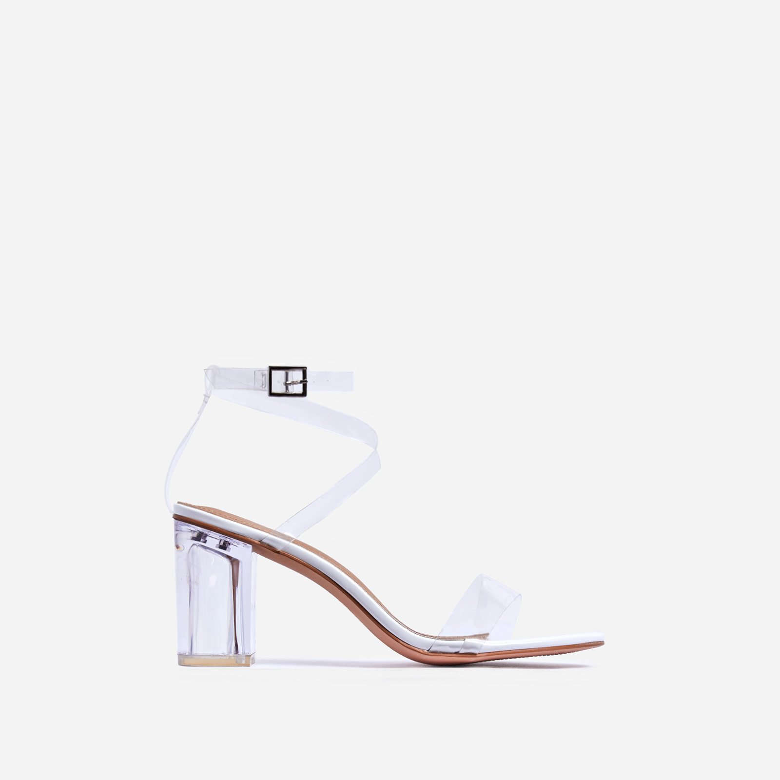Date Barely There Perspex Midi Block Heel In White Patent