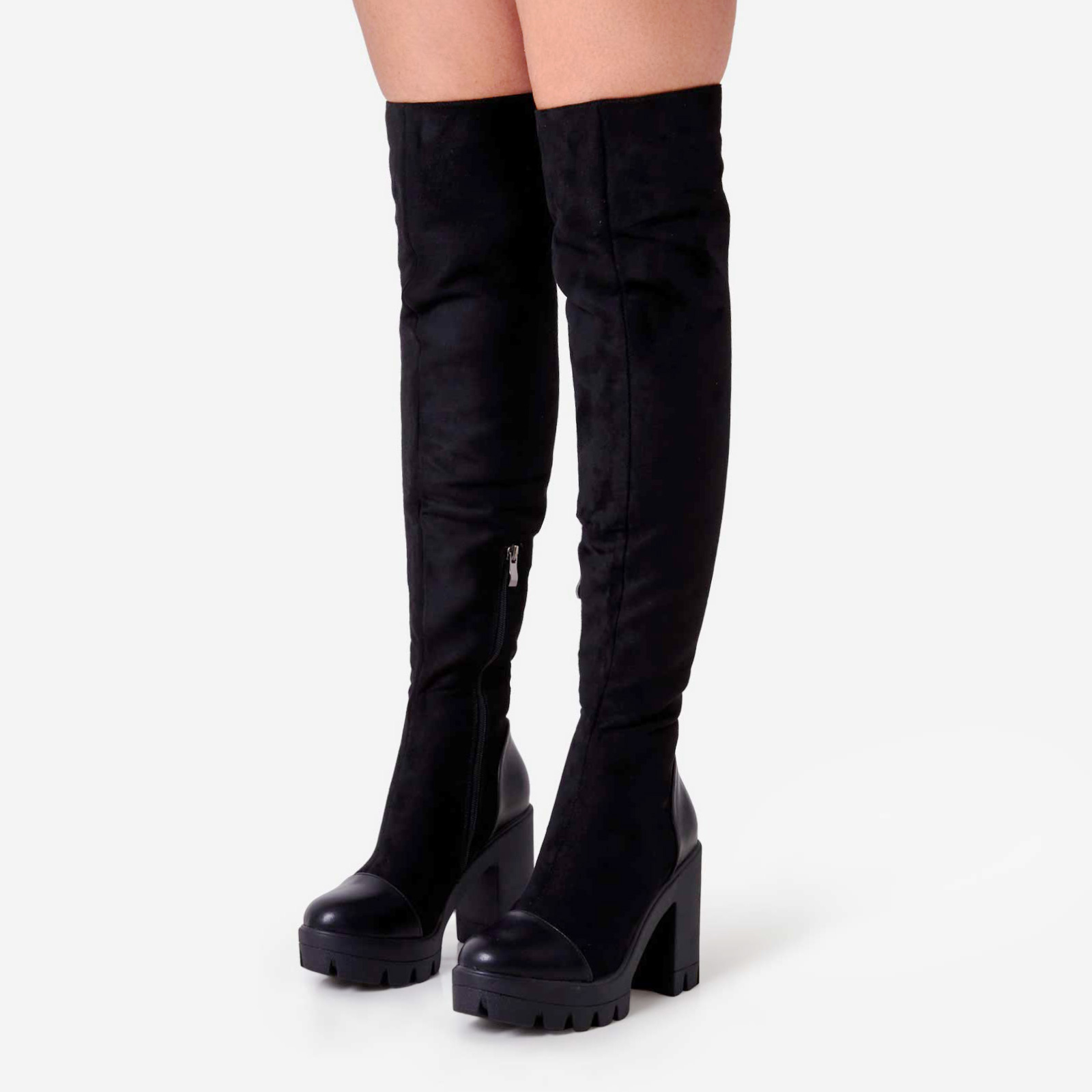 Rule Chunky Sole Over The Knee Thigh High Long Boot In Black Faux Suede
