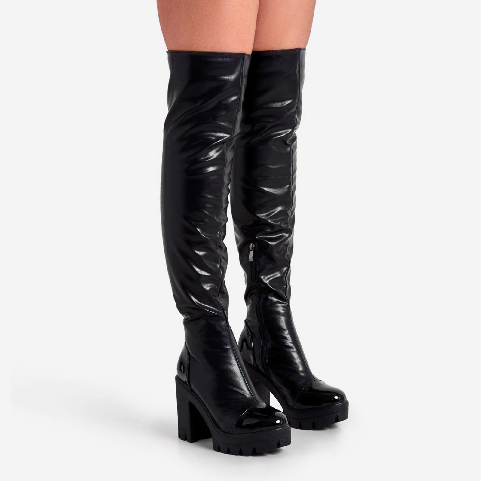 Rule Chunky Sole Over The Knee Thigh High Long Boot In Black Faux Leather