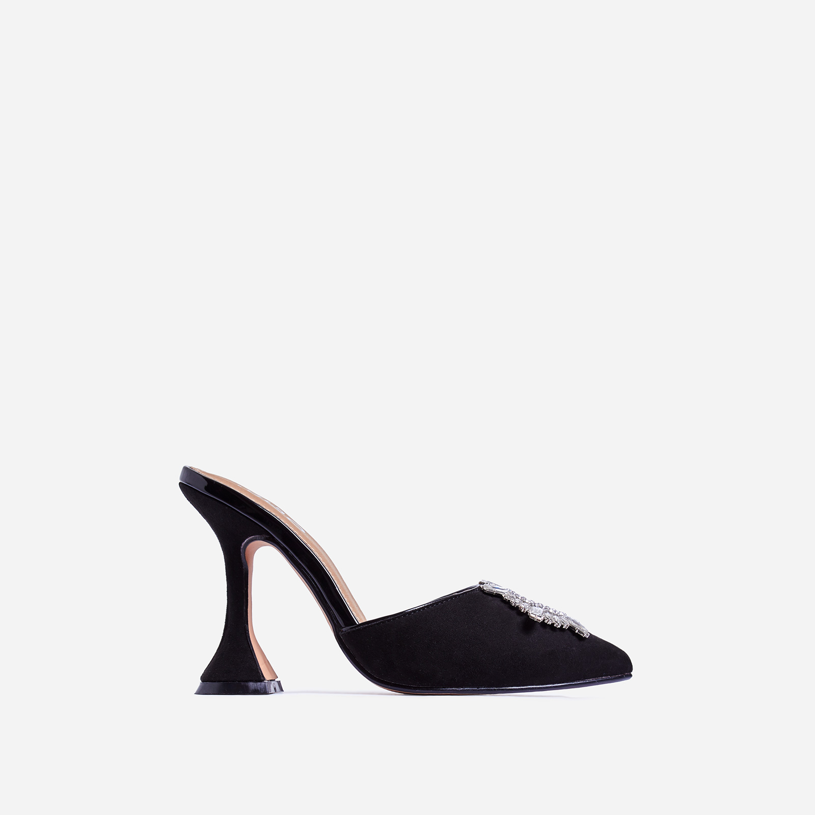 Moonlight Diamante Detail Pyramid Heel Mule In Black Faux Suede